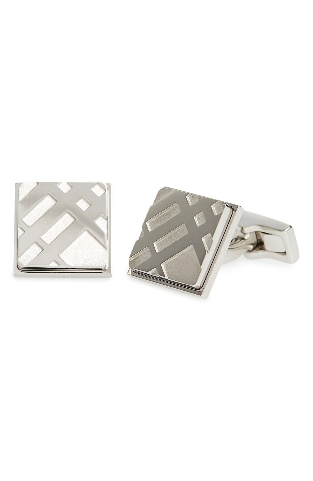 Square Cuff Links,                             Main thumbnail 1, color,                             Silver