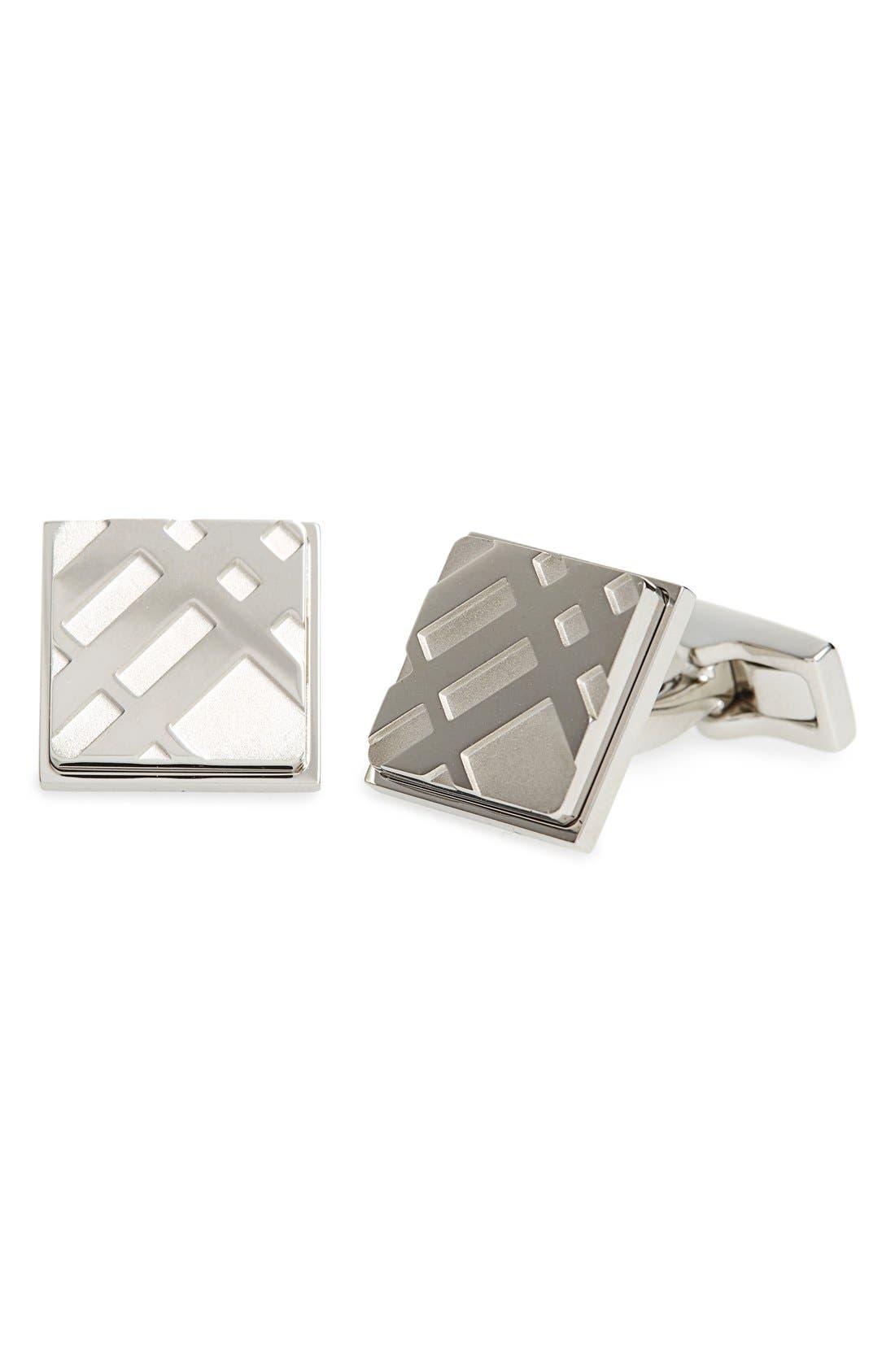 Square Cuff Links,                         Main,                         color, Silver