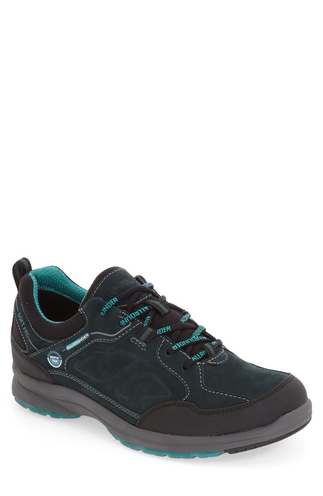 'Dascha Tex' Waterproof Sneaker,                             Main thumbnail 1, color,                             Black/ Olive Nubuck Leather