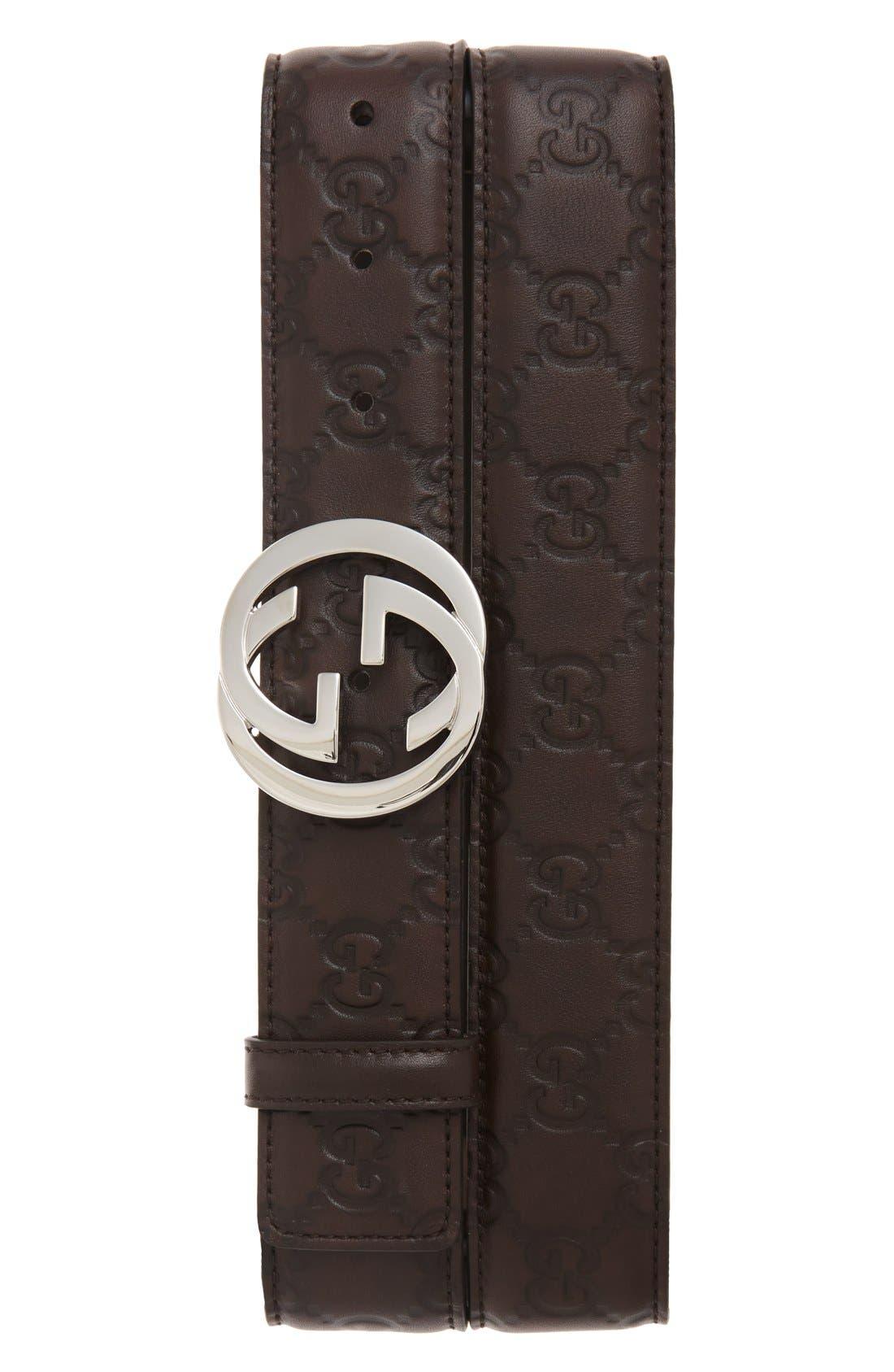 GUCCI Logo Buckle Calfskin Leather Belt