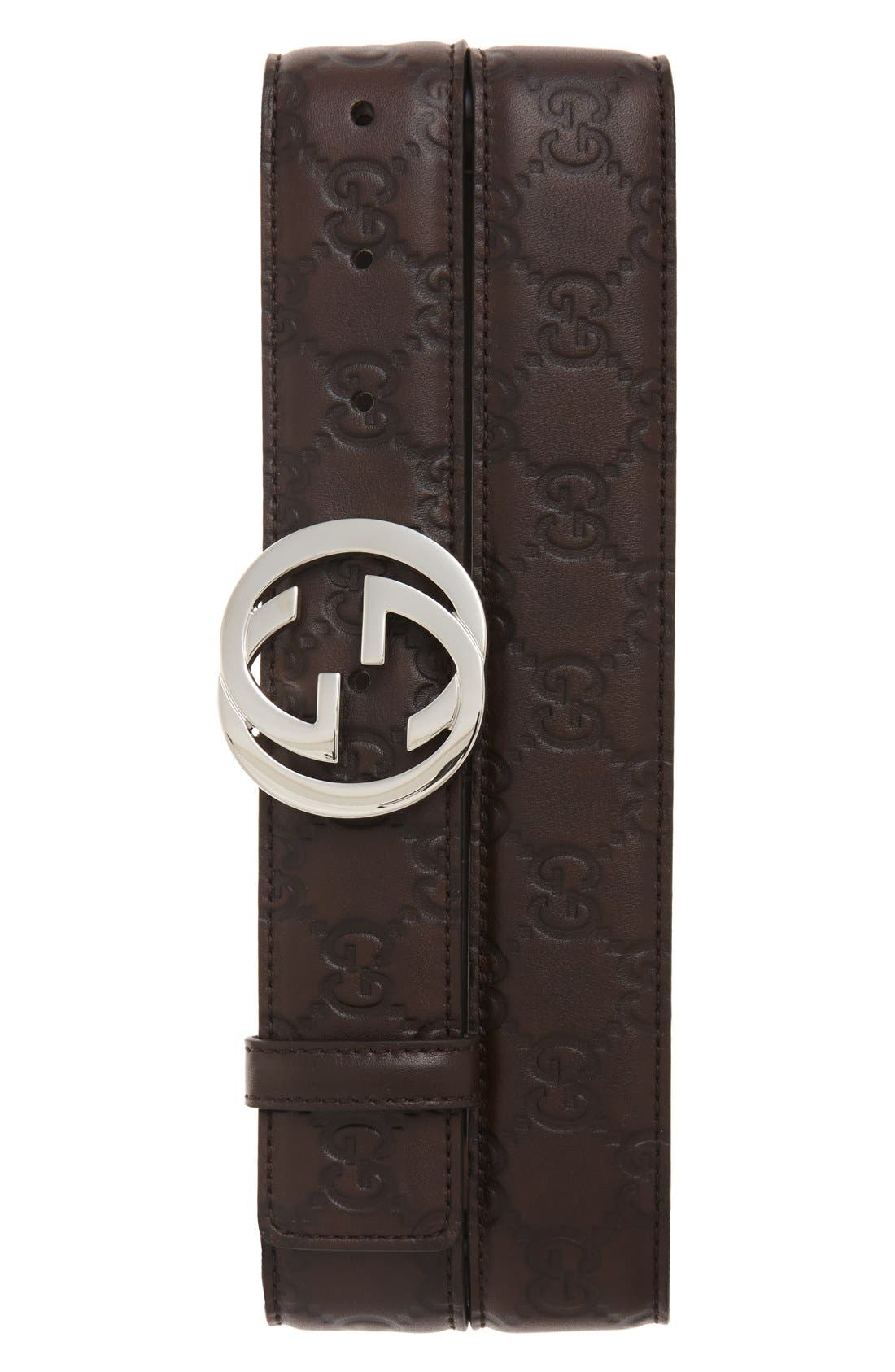 Logo Buckle Calfskin Leather Belt,                             Main thumbnail 1, color,                             Dark Chocolate