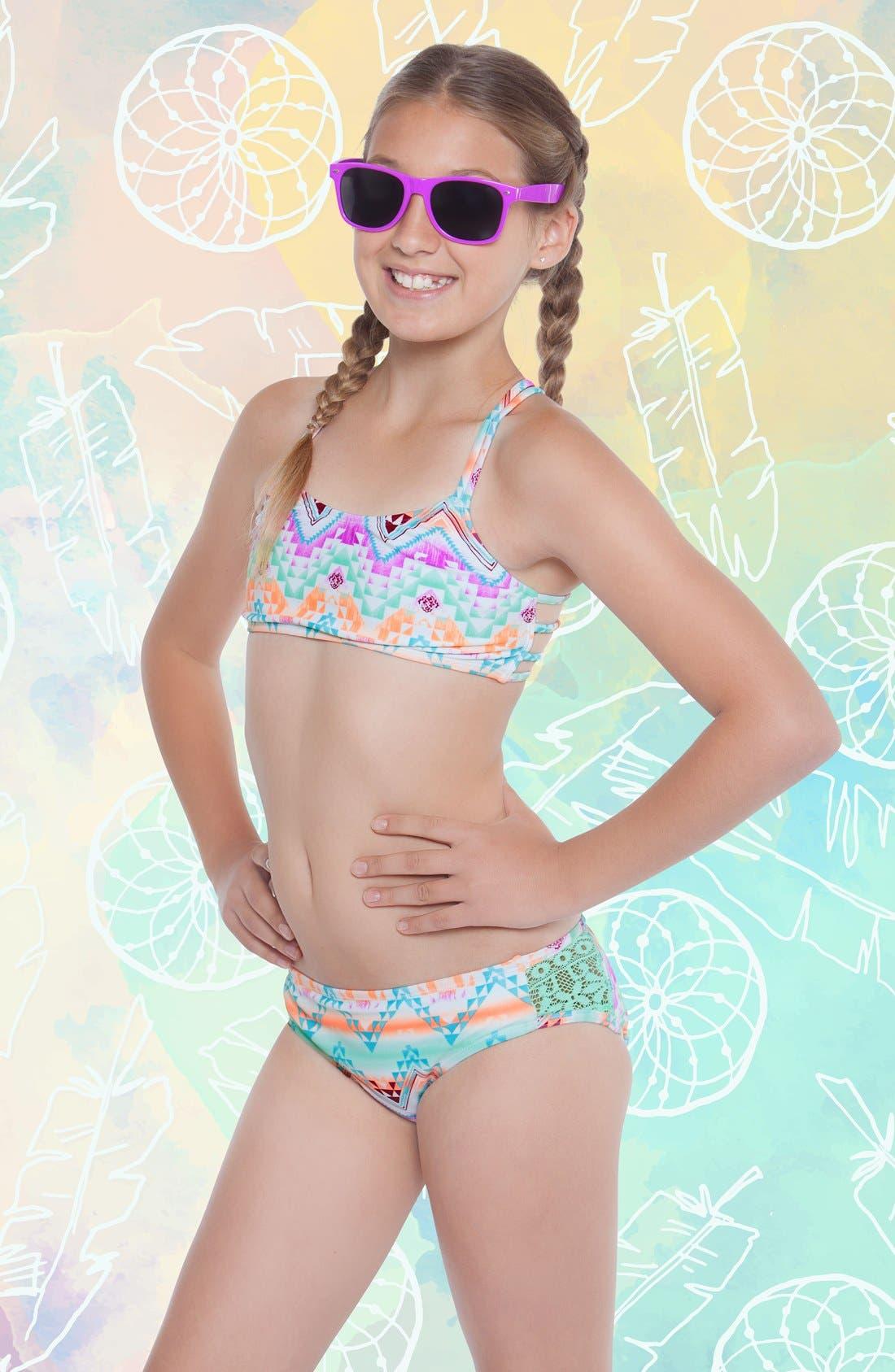 Alternate Image 2  - Gossip Girl 'Desert Mirage' Print Two-Piece Swimsuit (Big Girls)