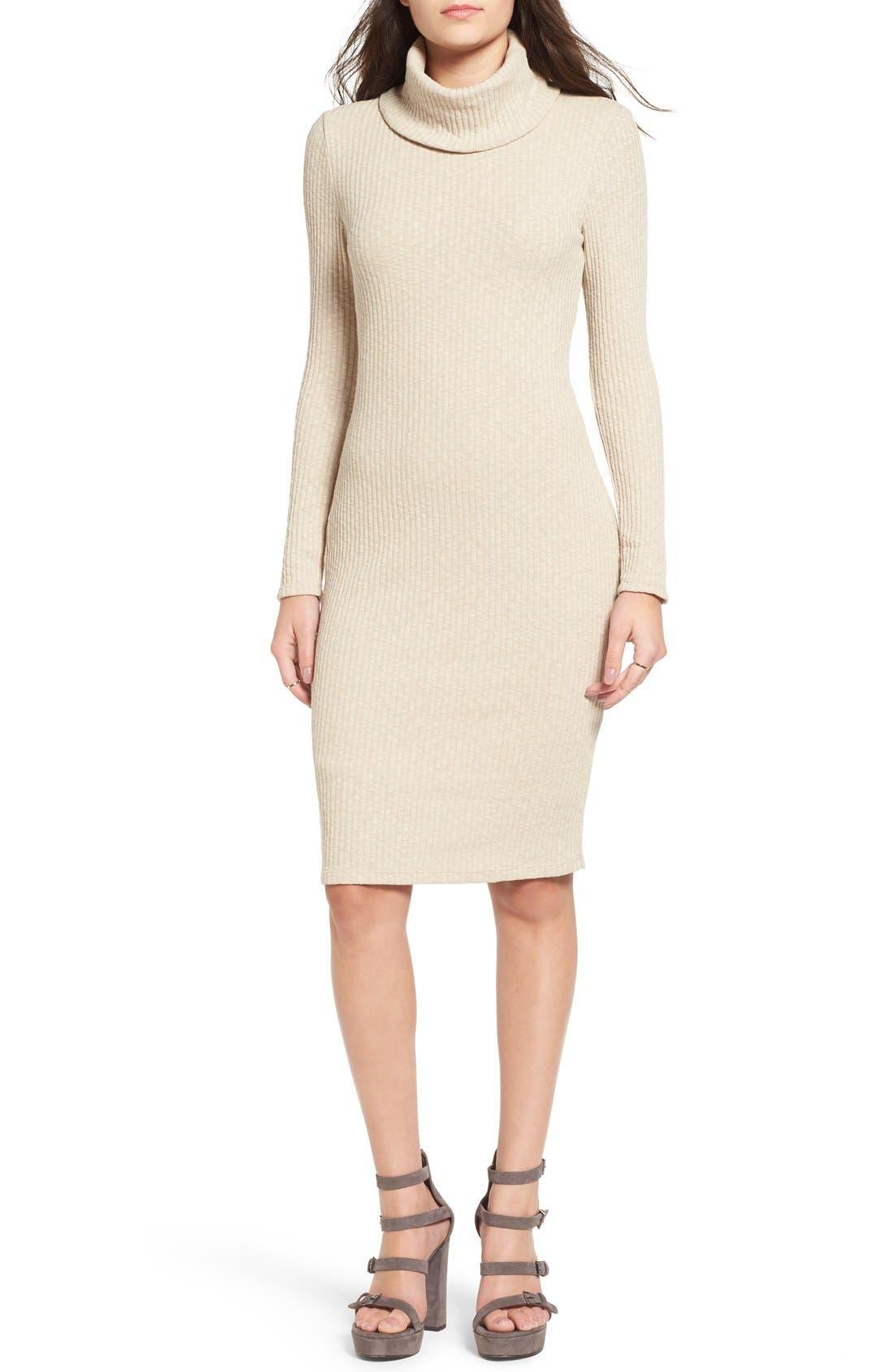 Alternate Image 1 Selected - Lush Turtleneck Body-Con Sweater Dress