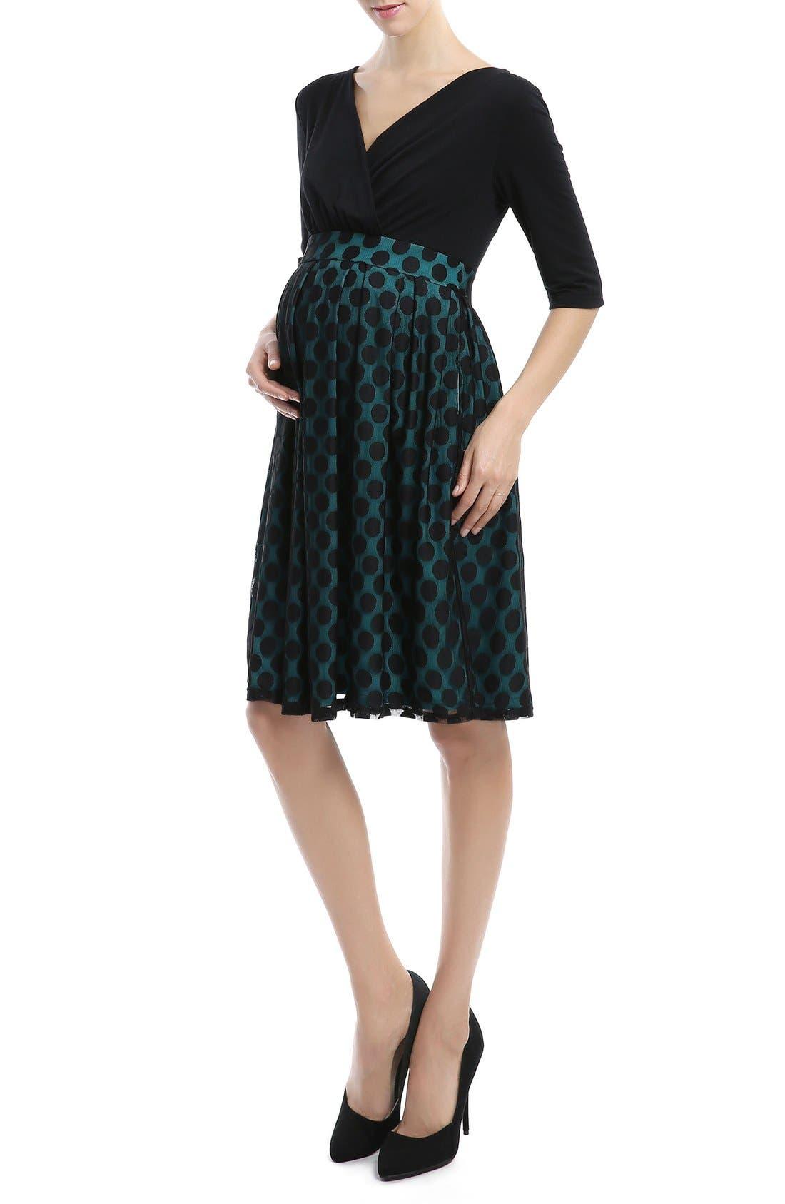 Alternate Image 4  - Kimi and Kai 'Liliana' Polka Dot Lace Maternity Dress