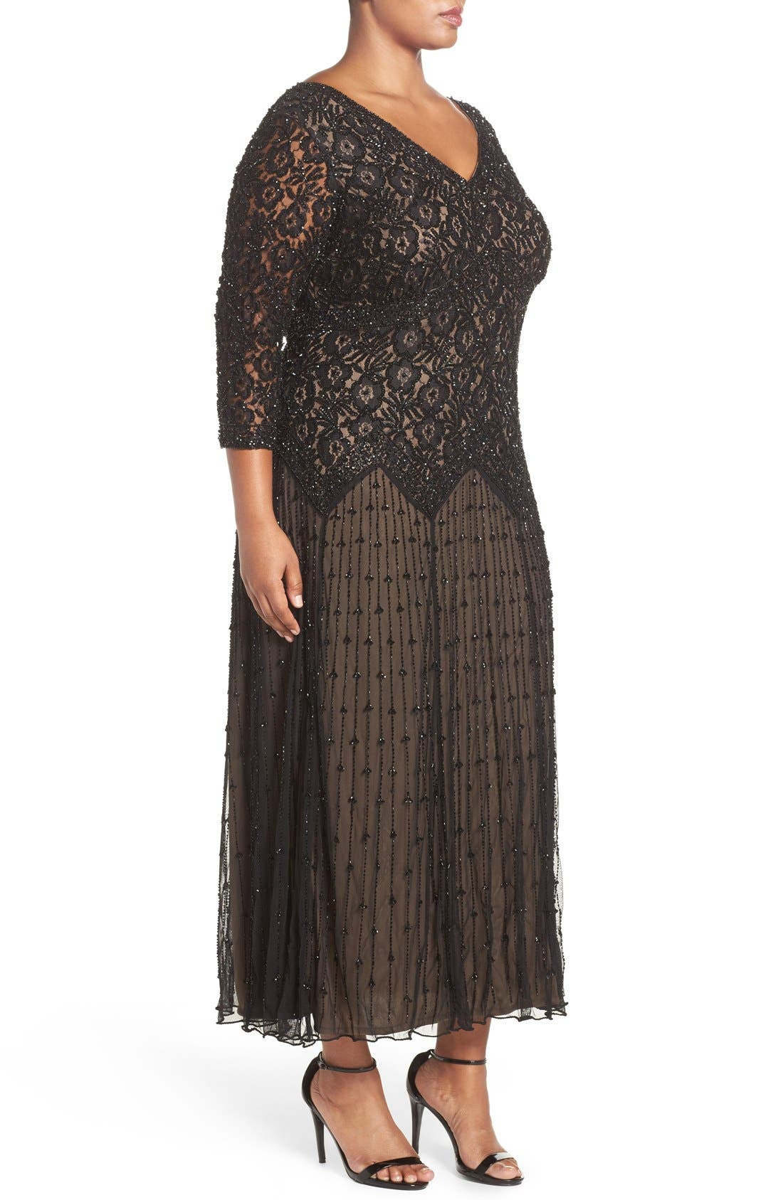 Beaded V-Neck Lace Illusion Gown,                             Alternate thumbnail 3, color,                             Black/ Nude