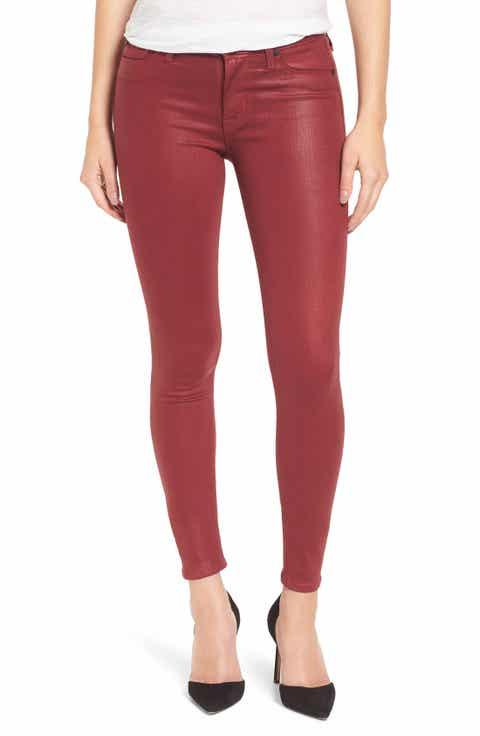 Hudson Jeans Coated Super Skinny Jeans - Women's Red Hudson Jeans Nordstrom Nordstrom