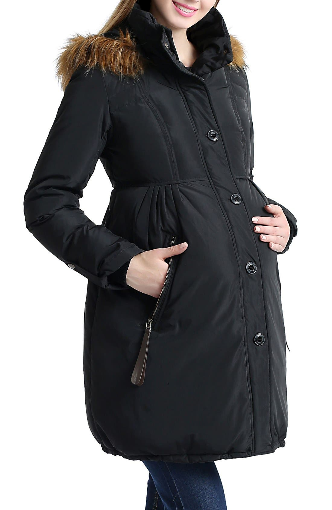 Lizzy Water Resistant Down Maternity Parka,                             Alternate thumbnail 4, color,                             Black