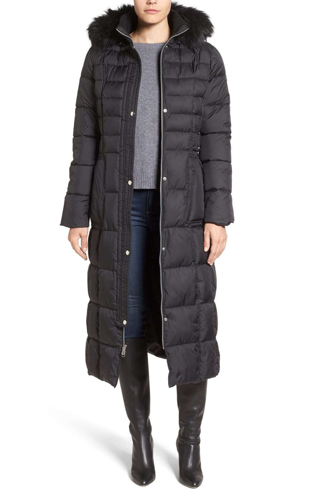 Quilted Maxi Coat with Faux Fur Trim,                         Main,                         color, Black