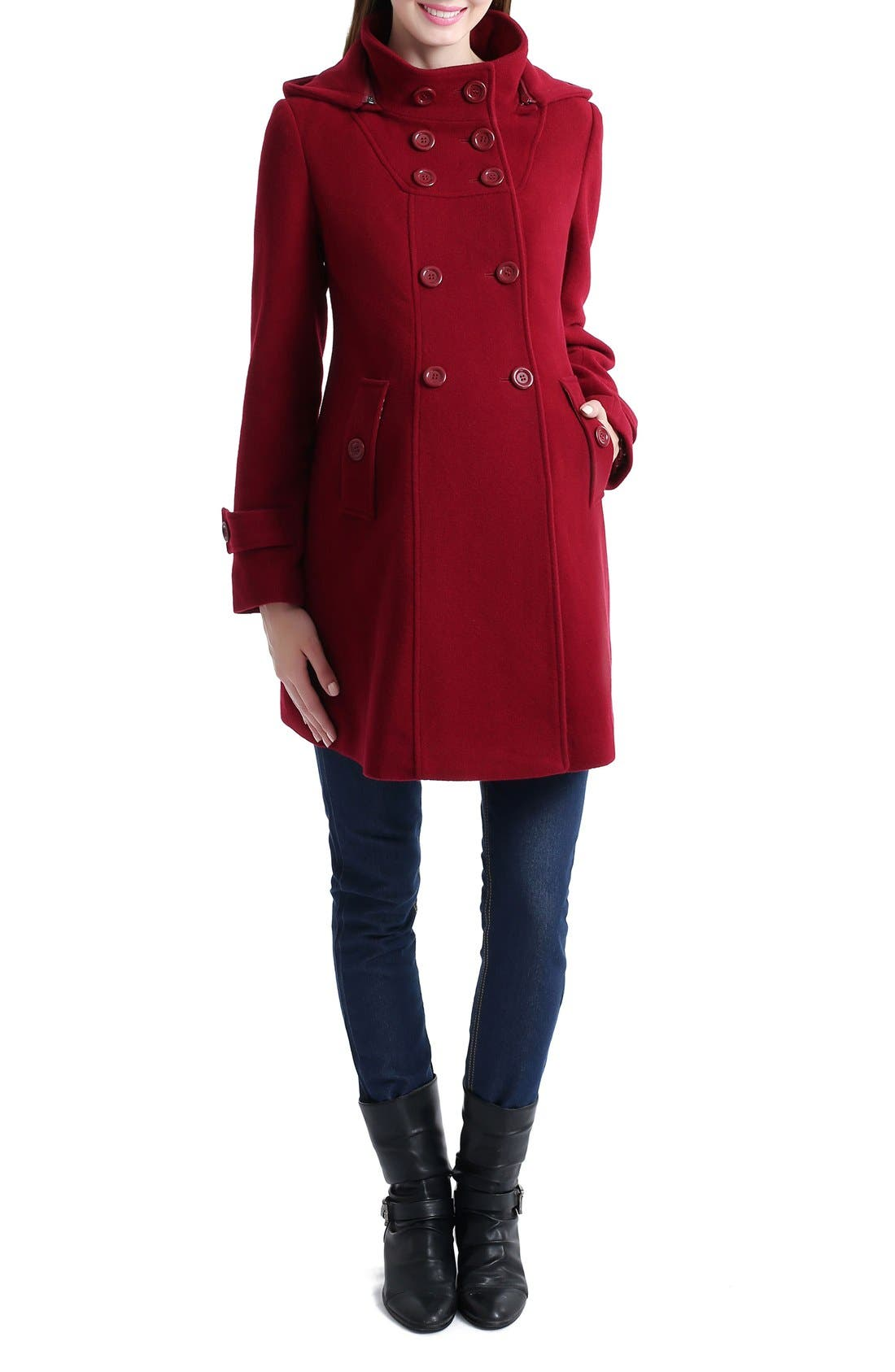 'Penelope' Maternity Trench Coat,                             Main thumbnail 1, color,                             Wine