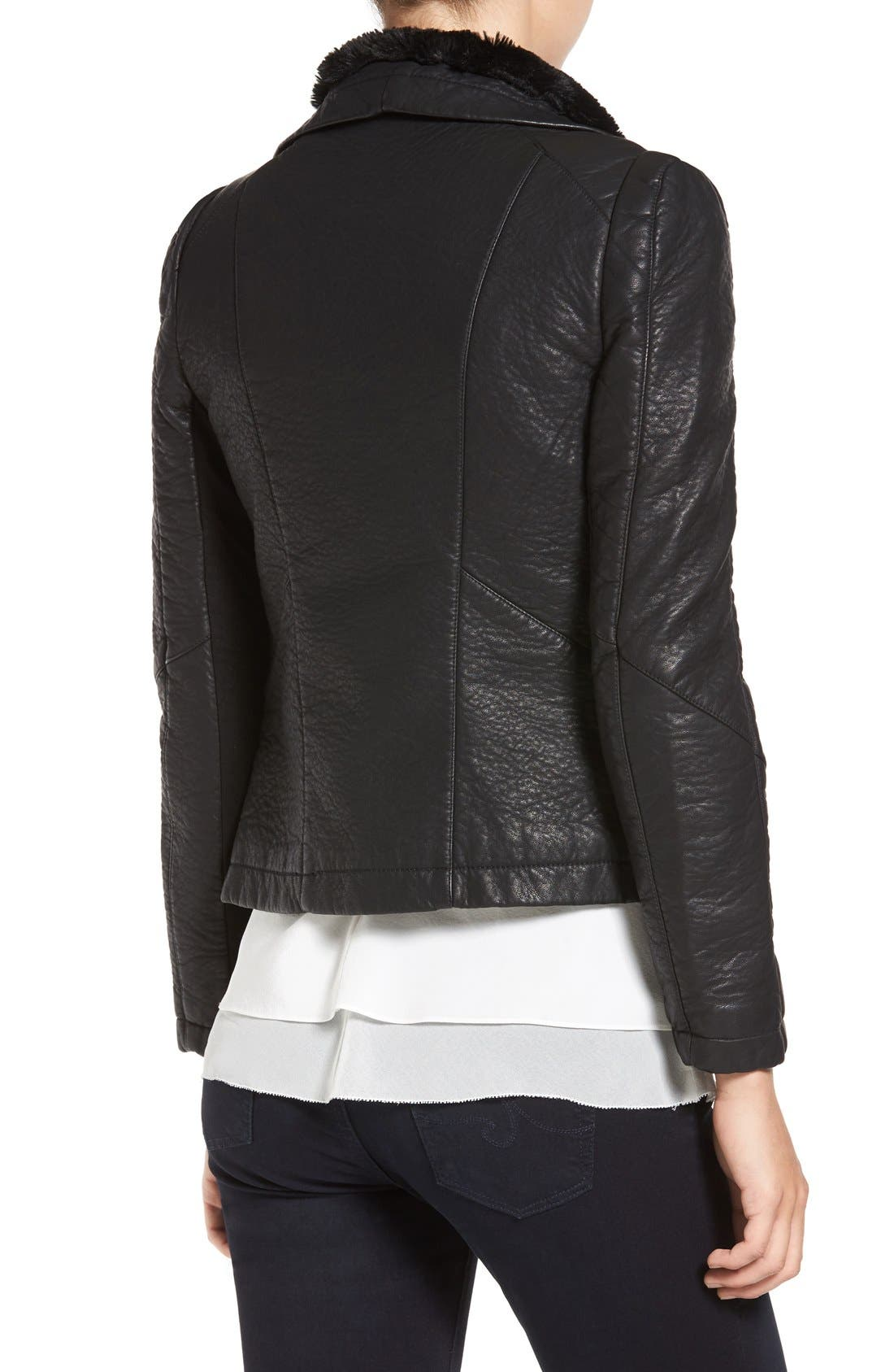 Faux Leather Jacket with Faux Shearling Trim,                             Alternate thumbnail 2, color,                             Black