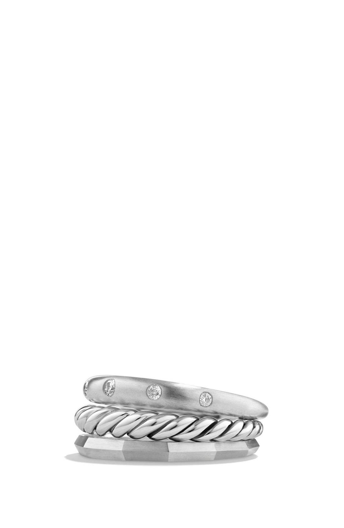 'Stax' Ring with Diamonds,                             Main thumbnail 1, color,                             Silver