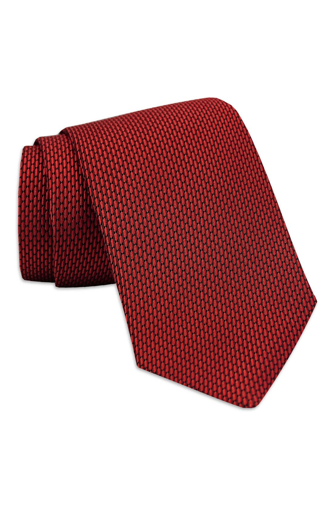 'Neat' Woven Silk Tie,                         Main,                         color, Red