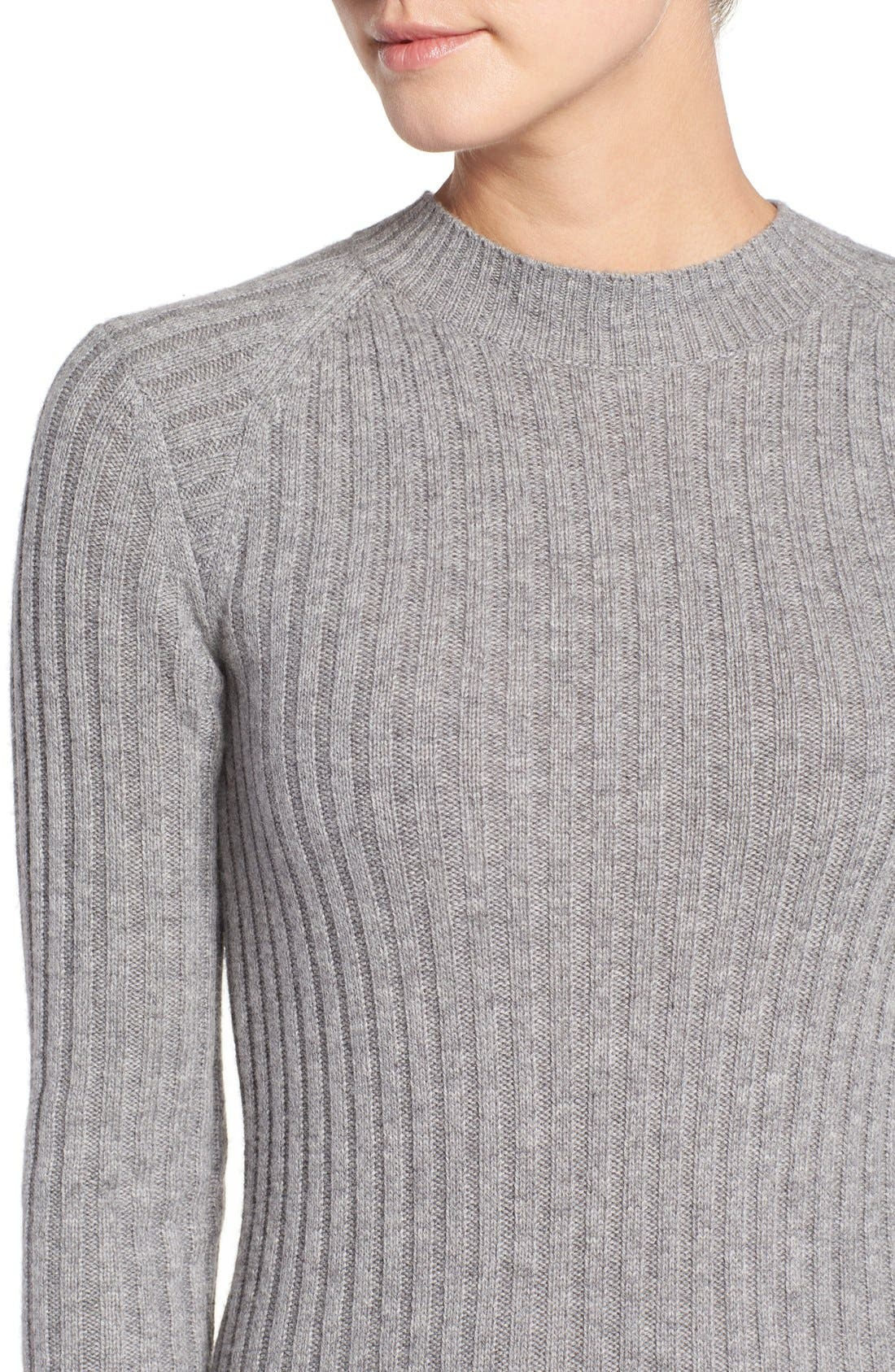 Reign Merino Wool & Cashmere Sweater Midi Dress,                             Alternate thumbnail 4, color,                             Medium Heather Grey