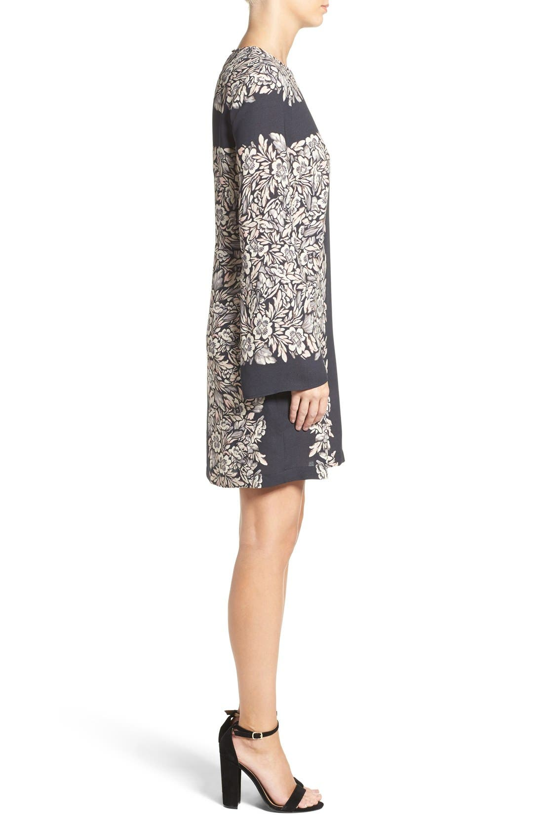 Alternate Image 3  - BCBGMAXAZRIA 'Dulchey' Floral Crepe Trapeze Dress