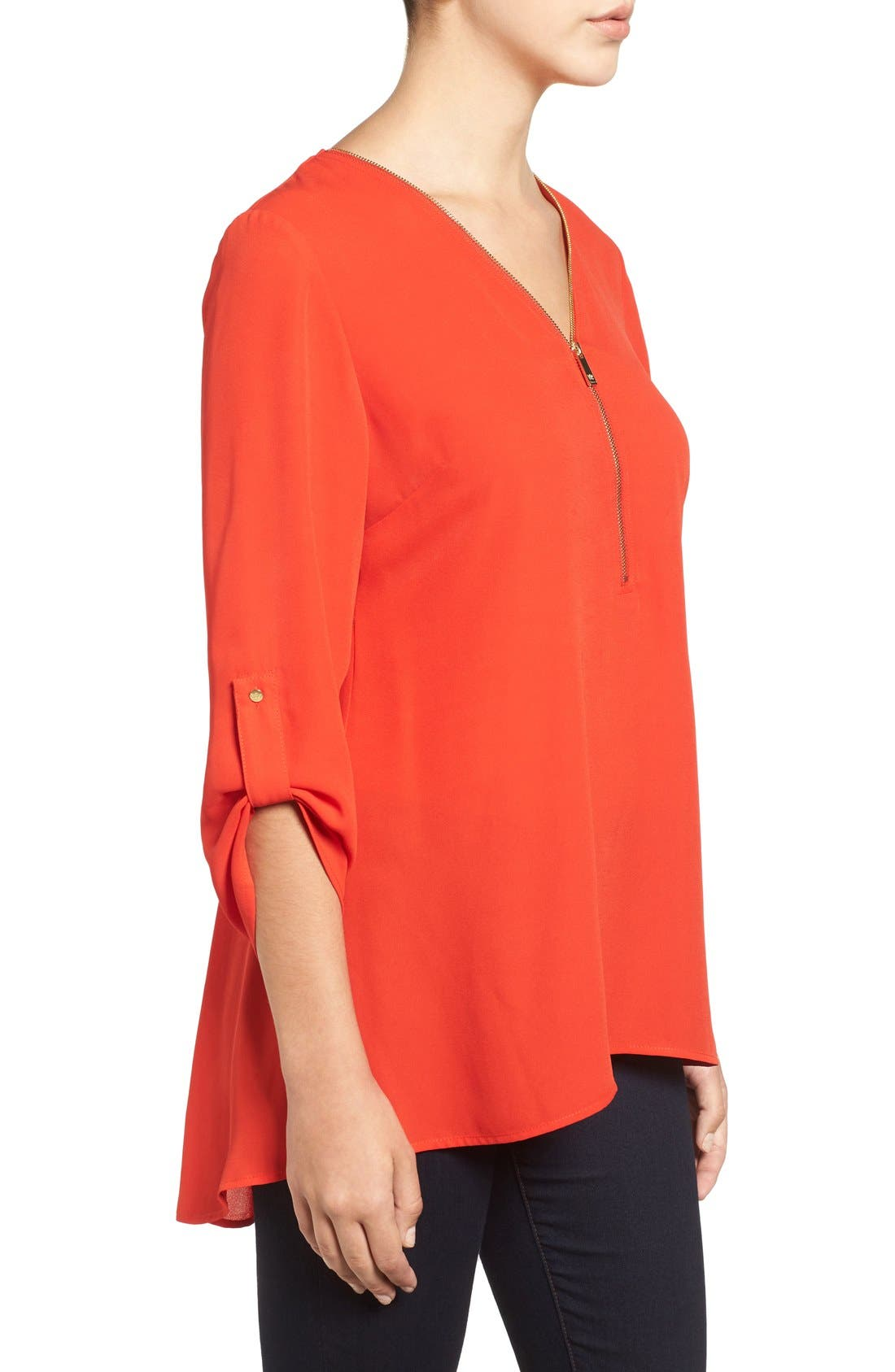 Alternate Image 3  - Chaus Zip V-Neck Blouse