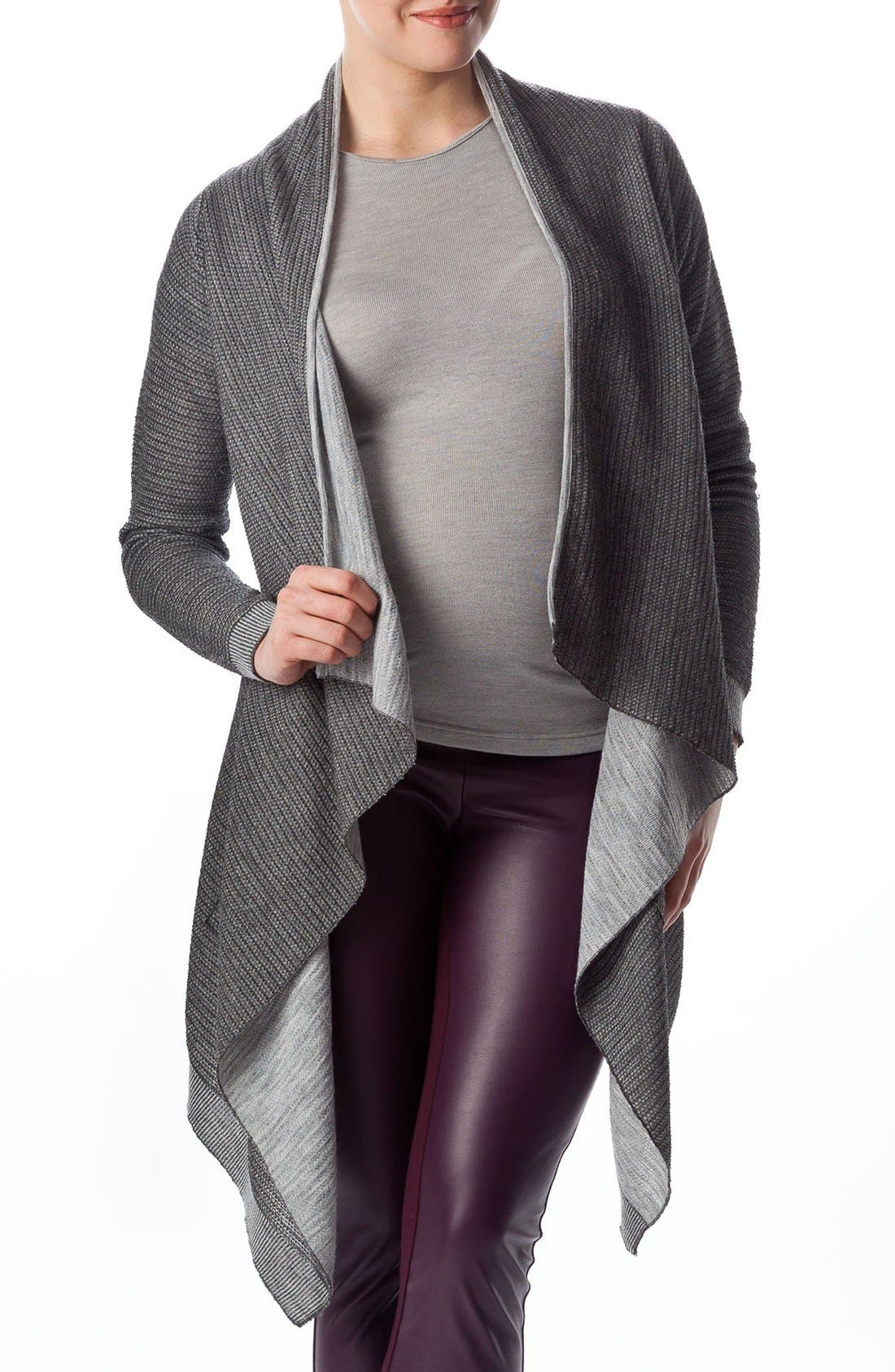 Alternate Image 1 Selected - PIETRO BRUNELLI 'Merano' Maternity Drape Front Cardigan