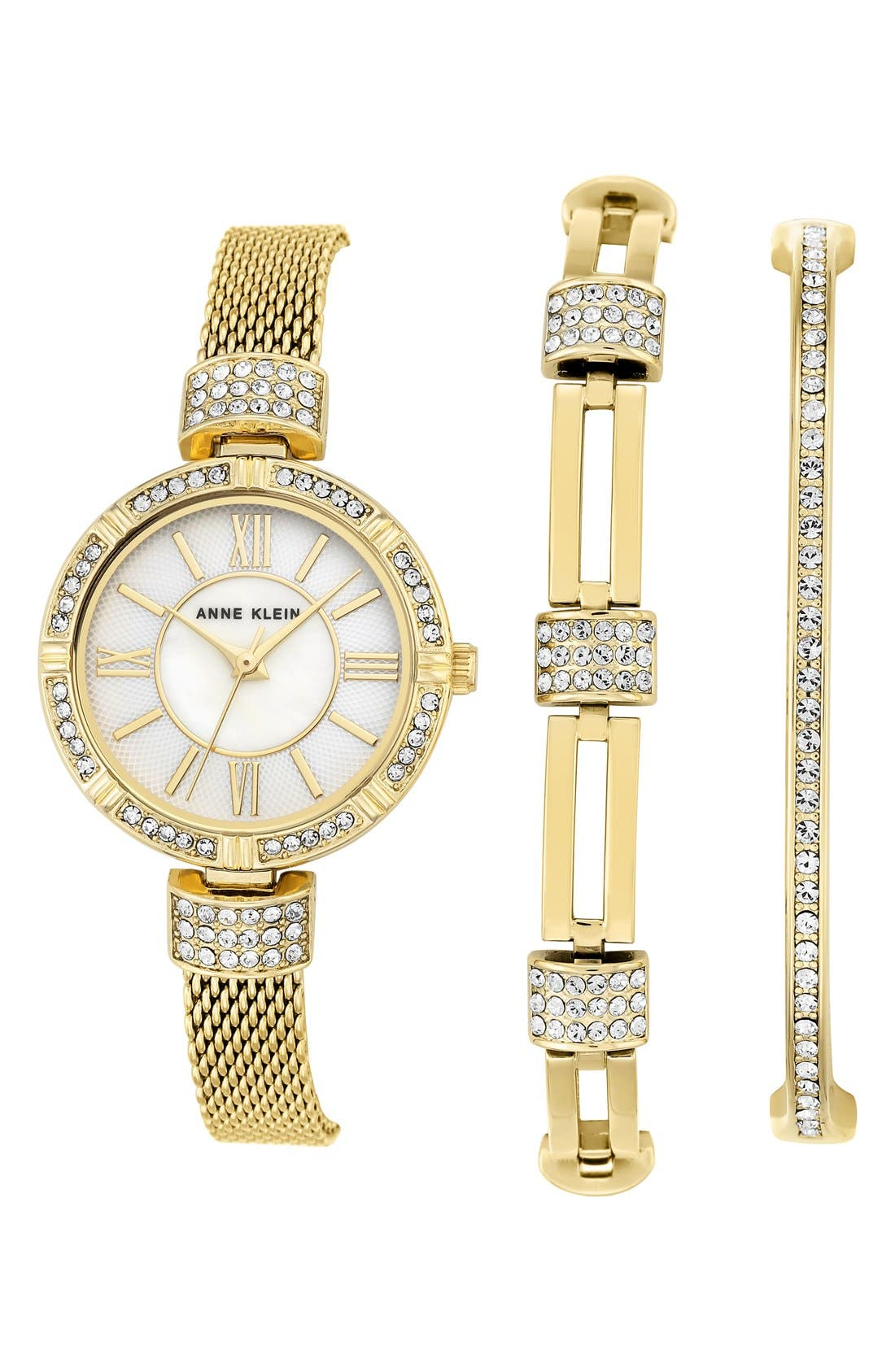 Watch & Bangle Set, 28mm,                         Main,                         color, Gold/ Mother Of Pearl