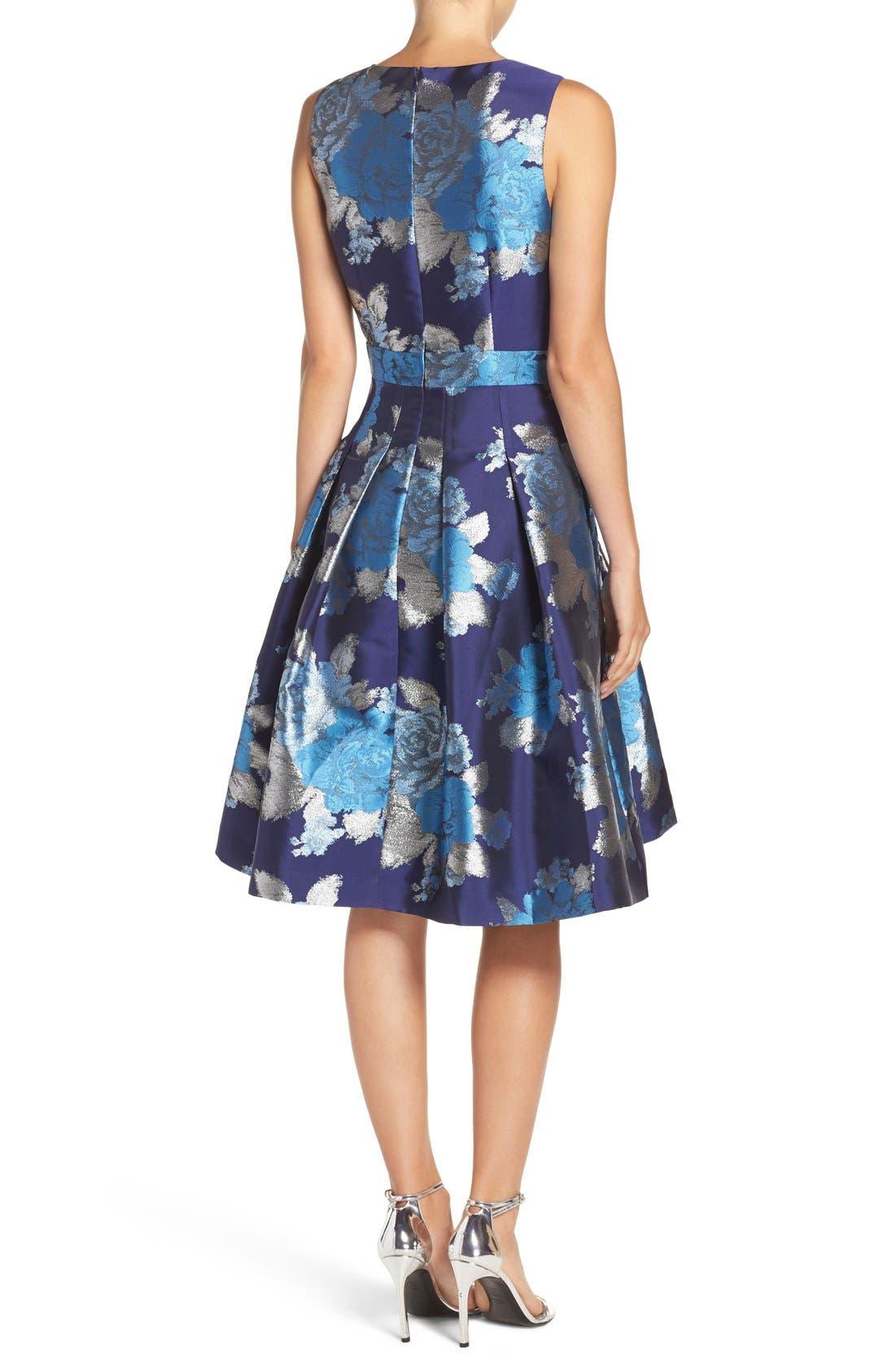 Alternate Image 2  - Eliza J Metallic Jacquard Fit & Flare Dress (Regular & Petite)