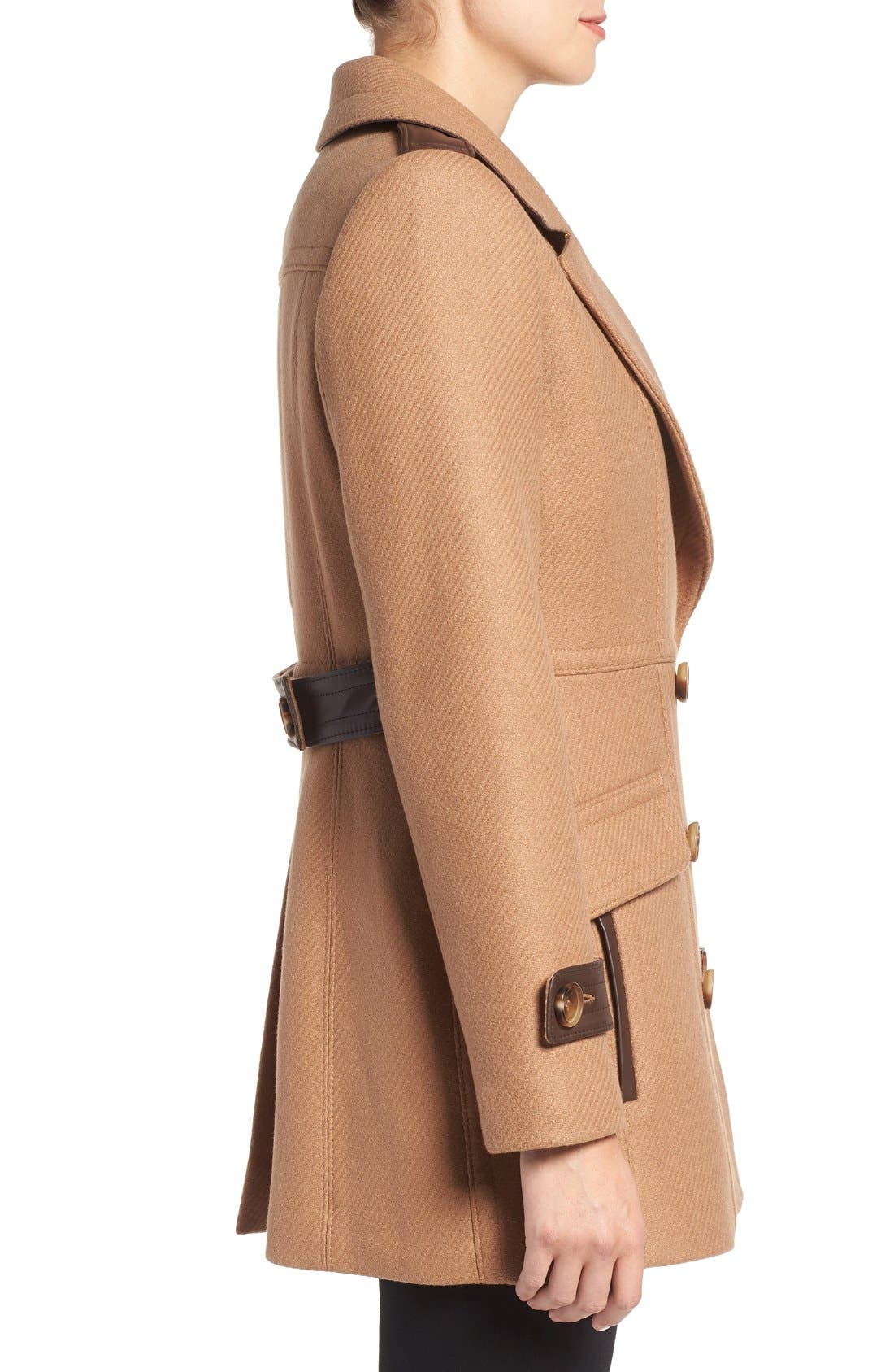 'Chloe' Wool Blend Peacoat,                             Alternate thumbnail 3, color,                             Camel