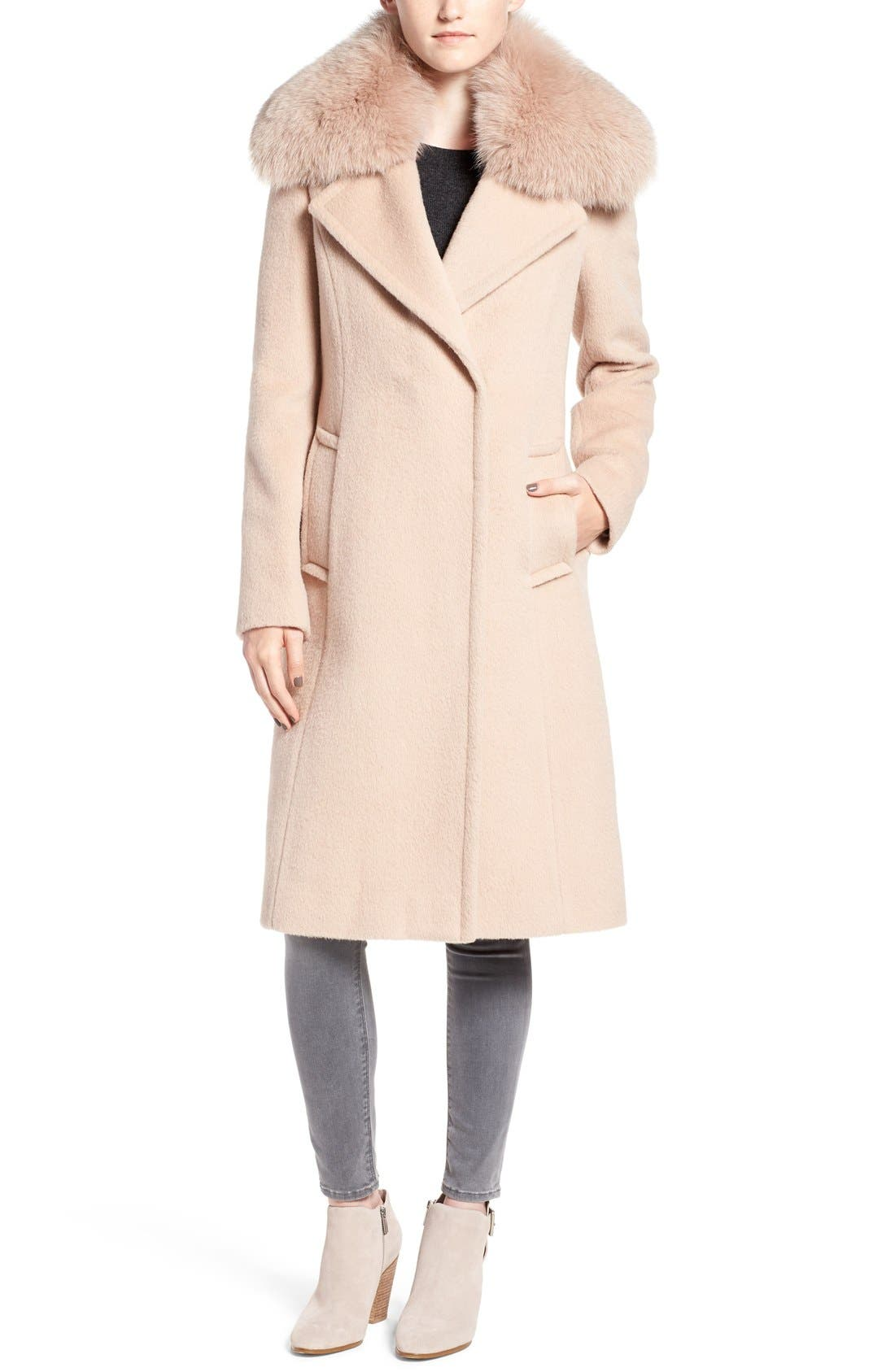 Alternate Image 1 Selected - Diane von Furstenberg Genuine Fox Fur Trim Notch Collar Long Wool Blend Coat