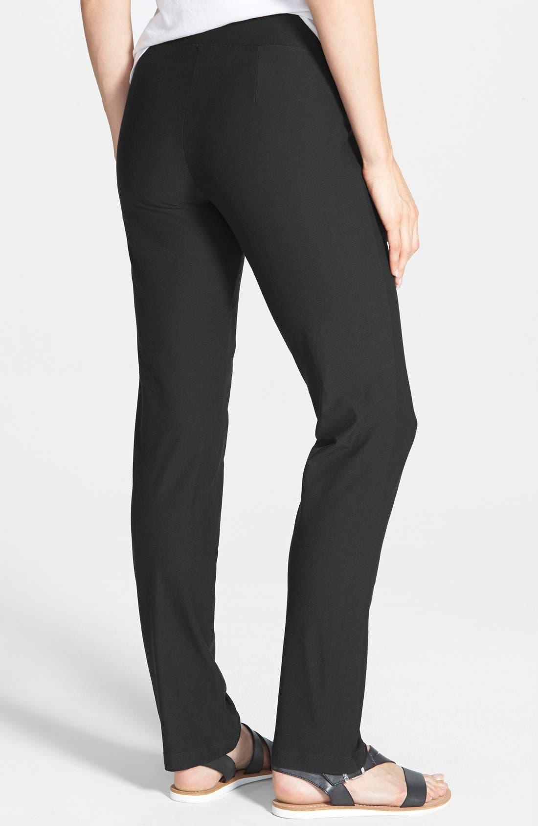 Straight Yoke Slim Crepe Knit Pants,                             Alternate thumbnail 2, color,                             Black