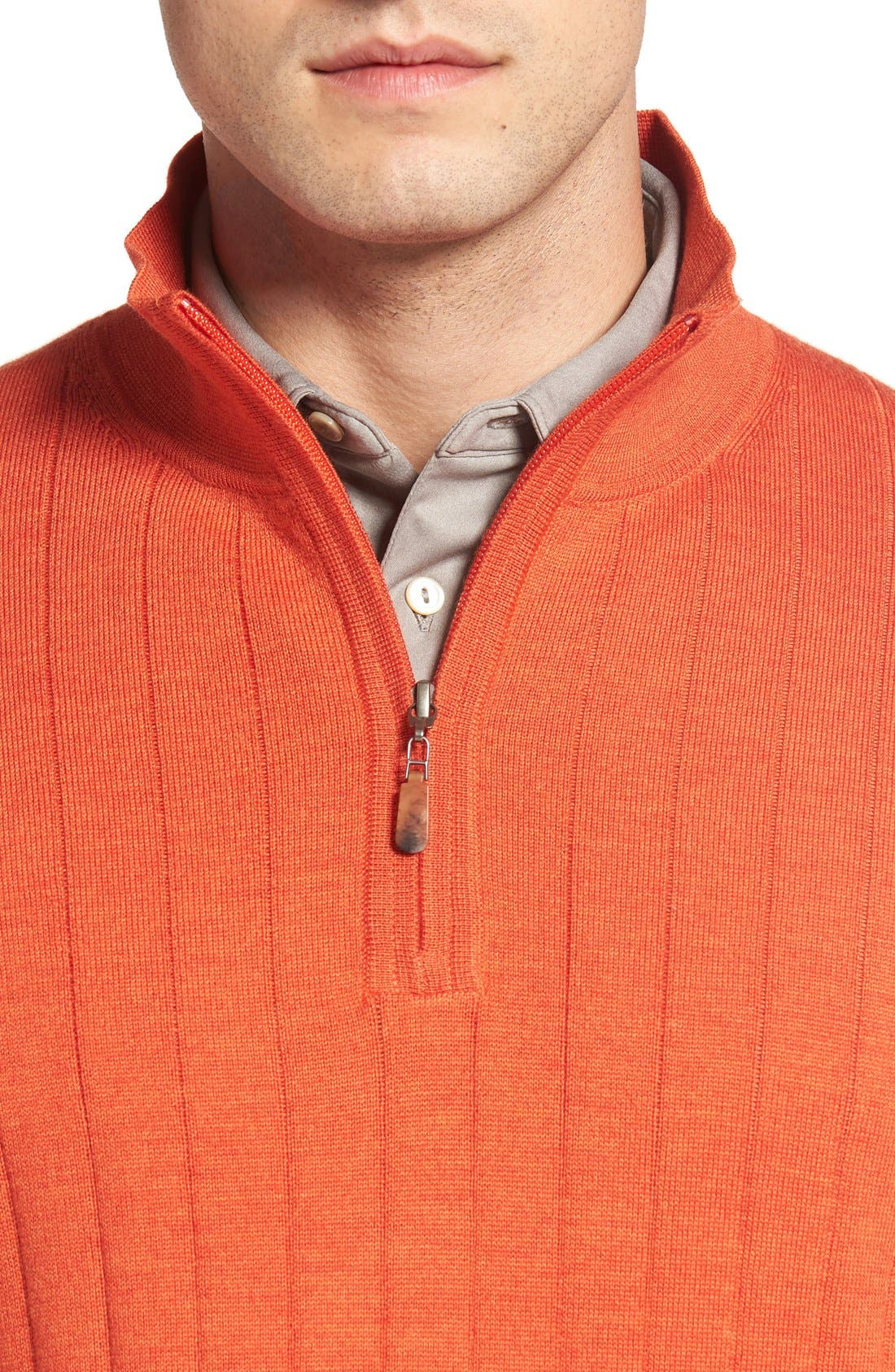 Alternate Image 4  - Bobby Jones Windproof Merino Wool Quarter Zip Sweater