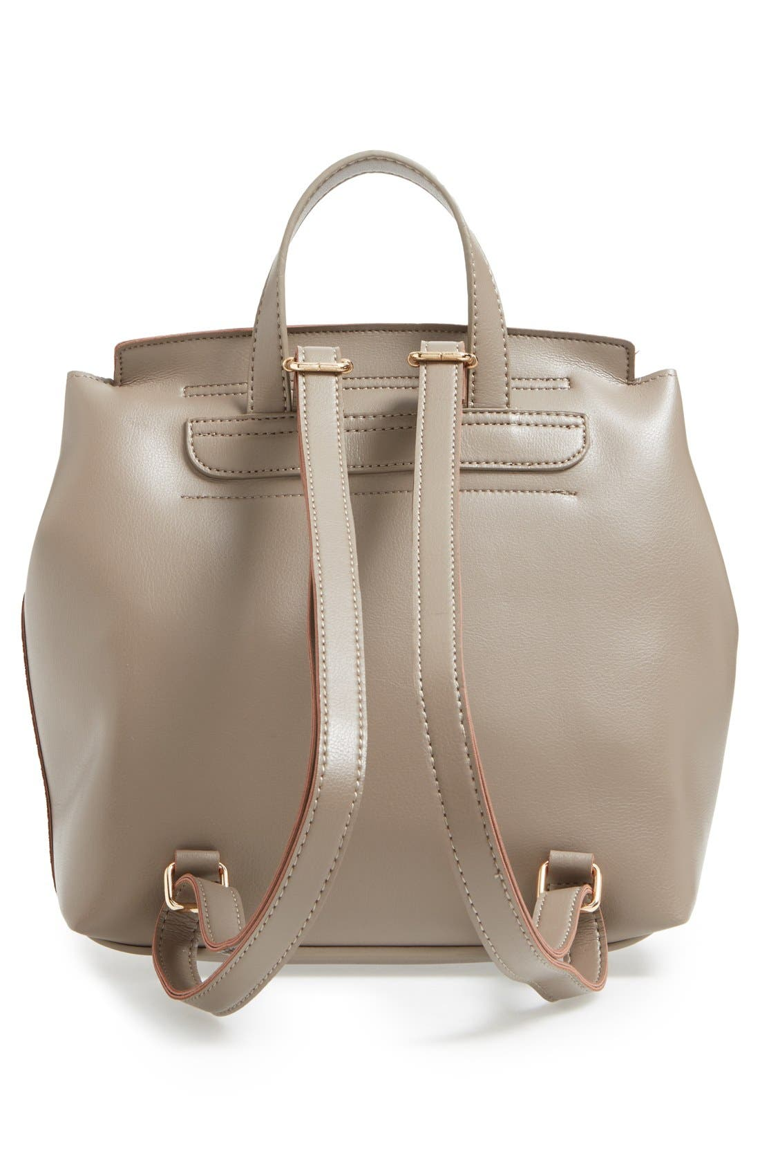 'Minimal Flap' Faux Leather Backpack,                             Alternate thumbnail 4, color,                             Taupe