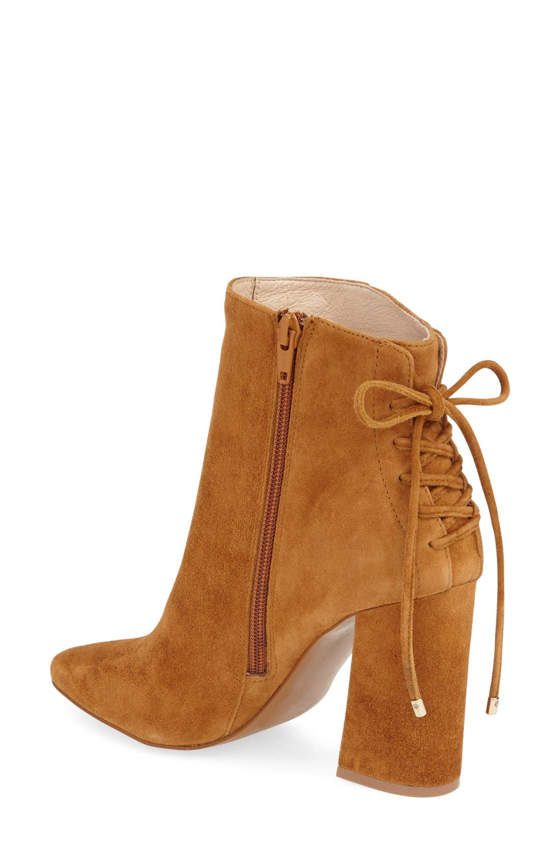 'Siren' Pointy Toe Bootie,                             Alternate thumbnail 2, color,                             Caramel Suede