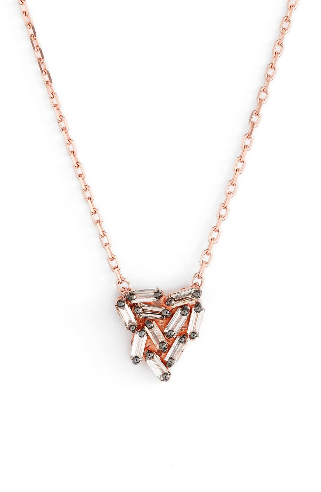'Fireworks' Diamond Baguette Mini Triangle Pendant Necklace,                             Main thumbnail 1, color,                             Rose Gold
