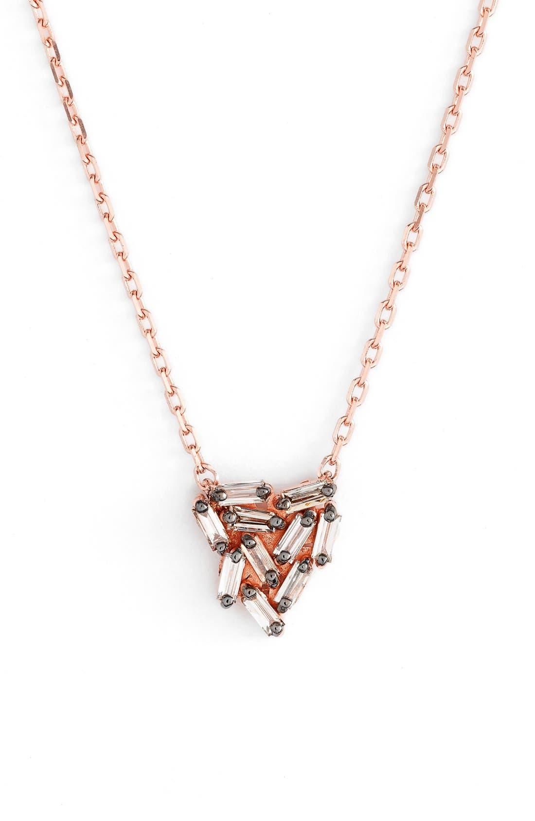 Main Image - Suzanne Kalan 'Fireworks' Diamond Baguette Mini Triangle Pendant Necklace