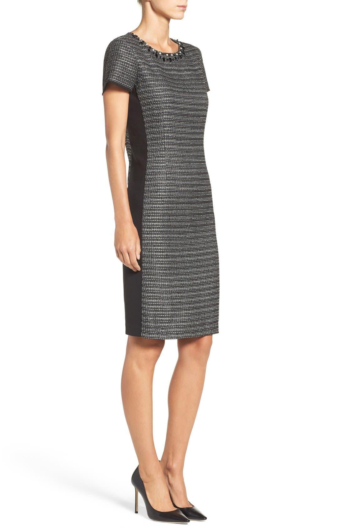 Alternate Image 3  - Ellen Tracy Embellished Tweed Shift Dress (Regular & Petite)