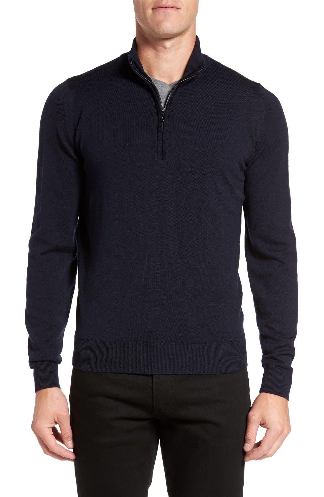'Tapton' Quarter Zip Merino Wool Sweater,                             Main thumbnail 1, color,                             Midnight
