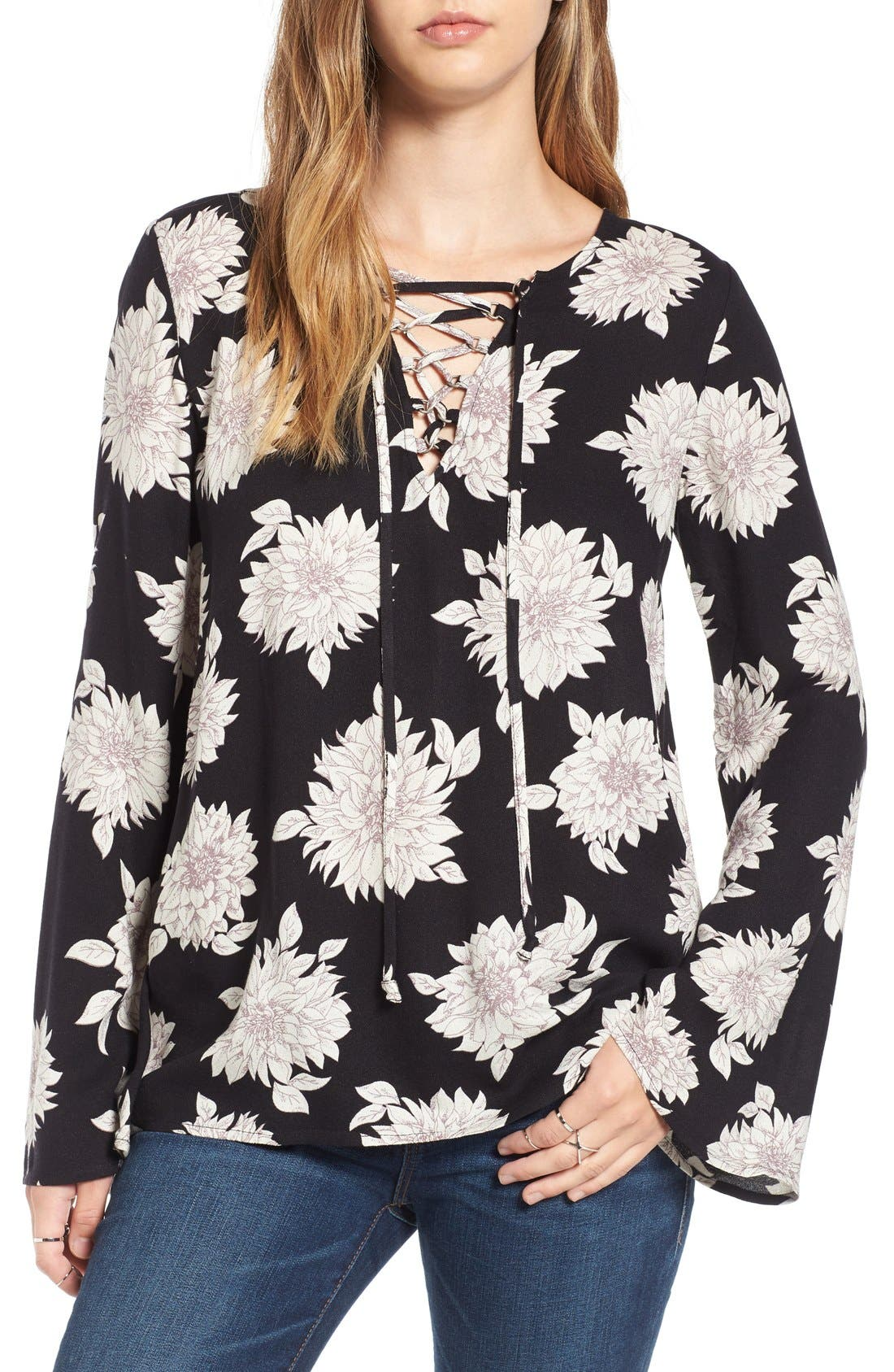 Main Image - Sun & Shadow Floral Print Lace-Up Top