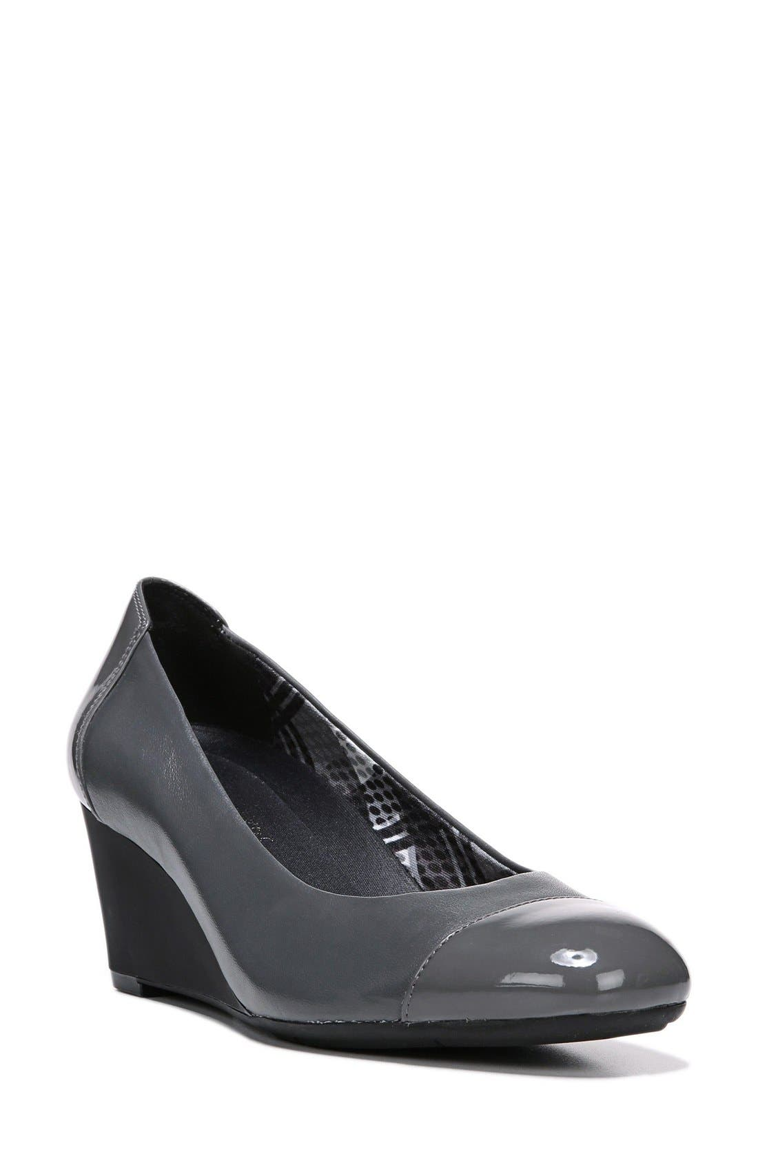 'Necile' Wedge Pump,                         Main,                         color, Graphite Leather