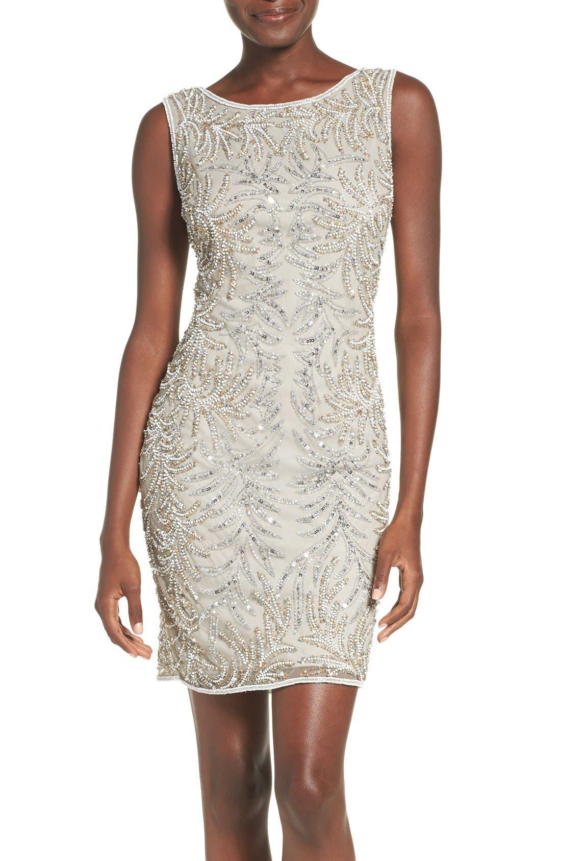 Embellished Mesh Sheath Dress,                         Main,                         color, Silver