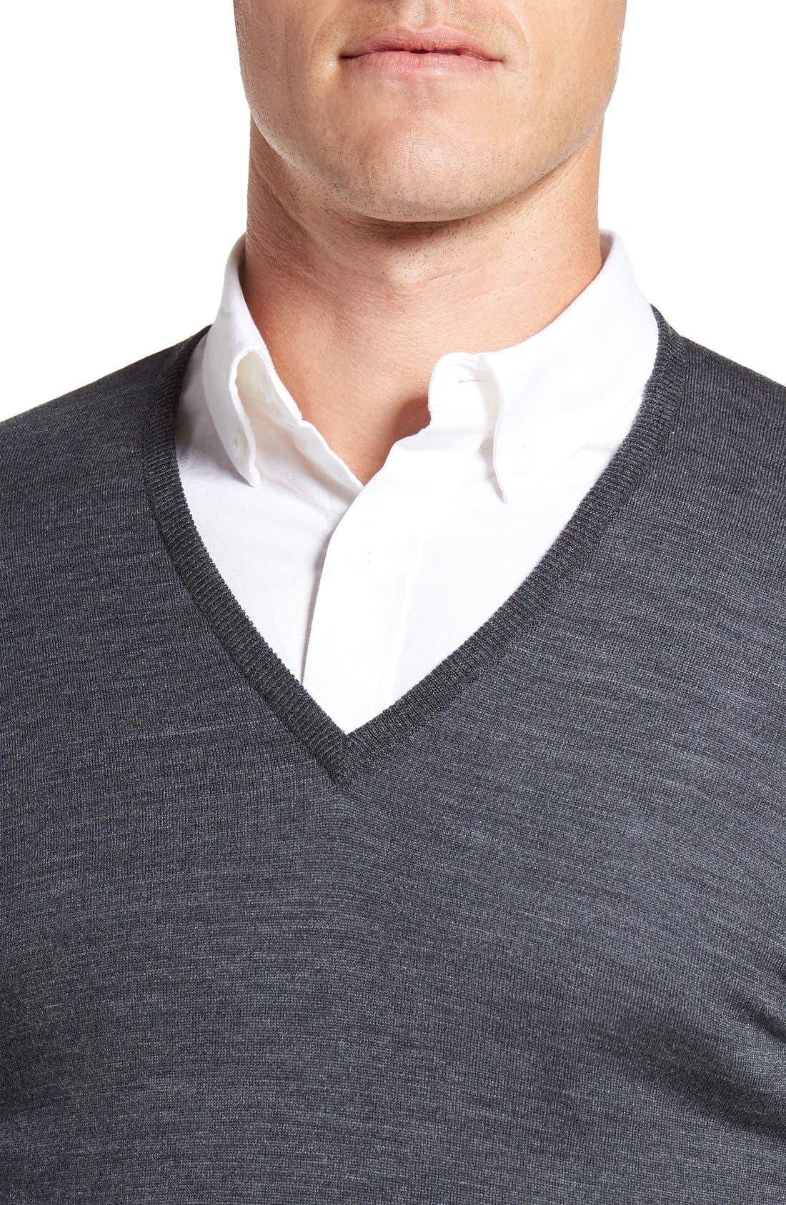 Alternate Image 4  - John Smedley 'Bobby' Easy Fit V Neck Wool Sweater