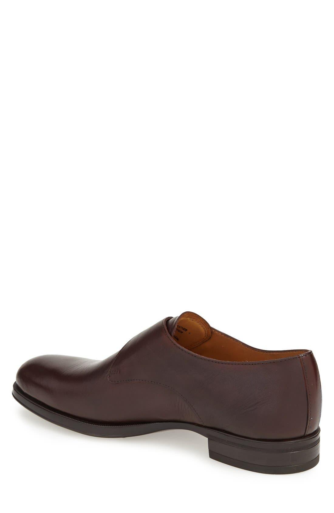 'Trifolo' Monk Strap Shoe,                             Alternate thumbnail 2, color,                             Dark Woodbury Leather