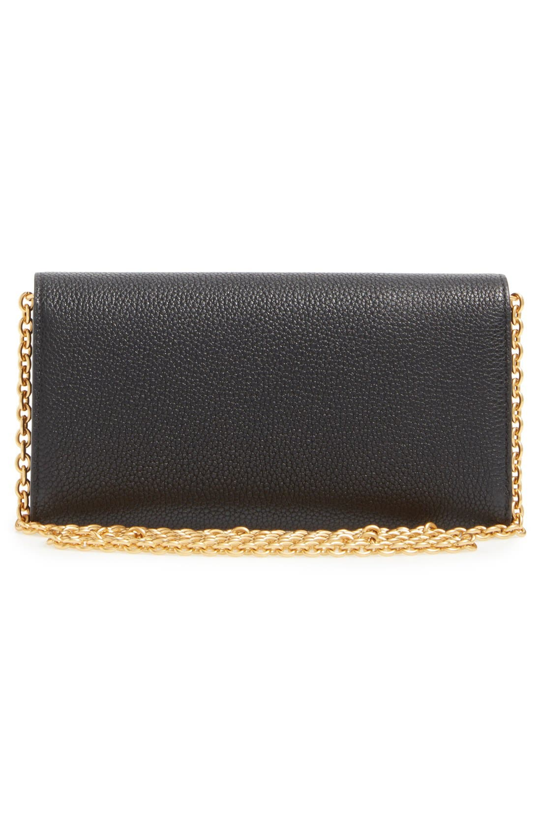 'Continental - Classic' Convertible Leather Clutch,                             Alternate thumbnail 3, color,                             Black