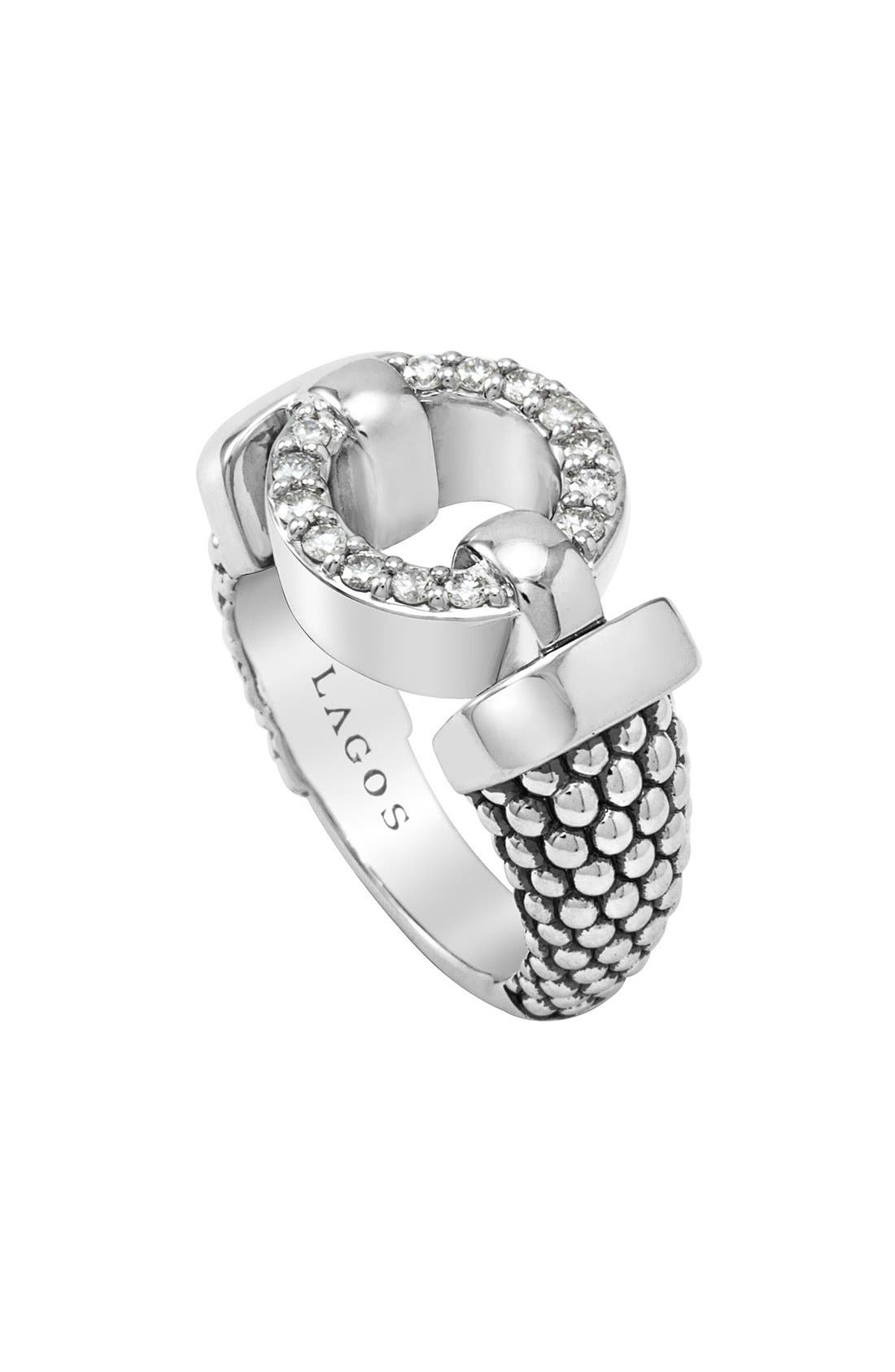 'Enso - Circle Game' Diamond Caviar Ring,                         Main,                         color, Silver