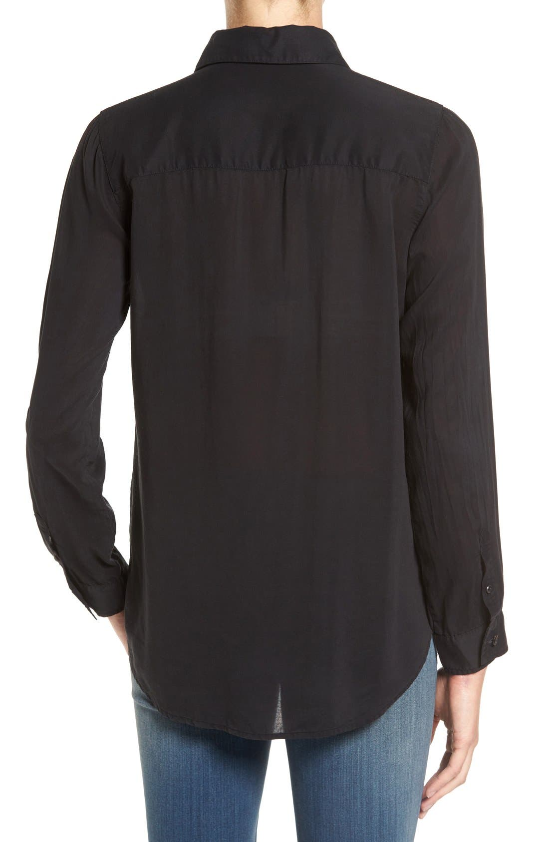 Drapey Classic Shirt,                             Alternate thumbnail 2, color,                             Black