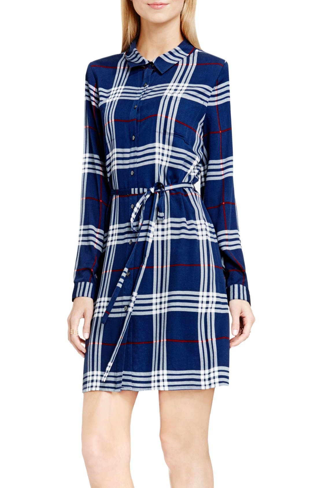 Alternate Image 1 Selected - Two by Vince Camuto Plaid Shirtdress