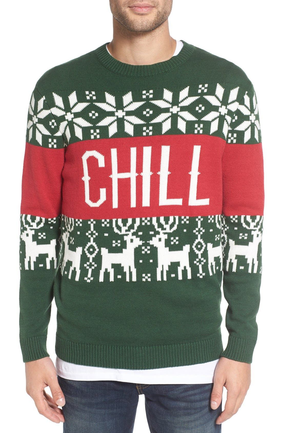 'Chill Vibes' Intarsia Crewneck Sweater,                             Main thumbnail 1, color,                             Red/ Green