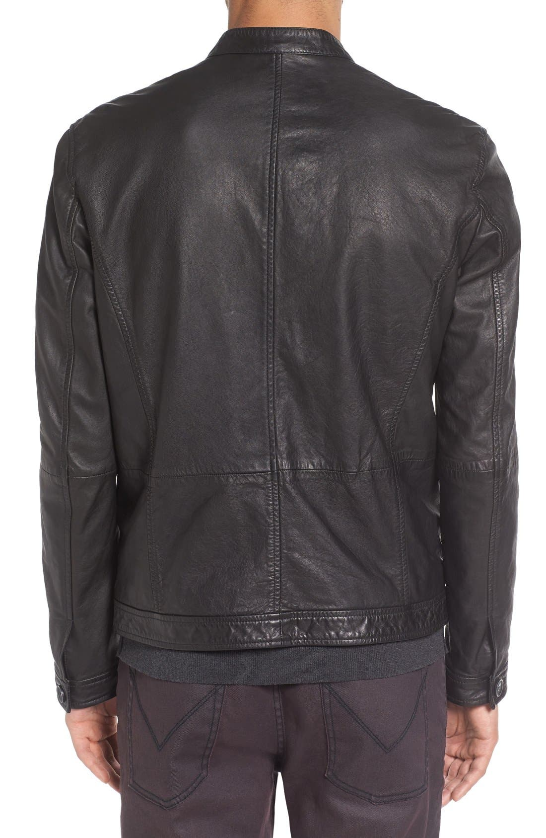Alternate Image 2  - John Varvatos Star USA Black Leather Racer Jacket