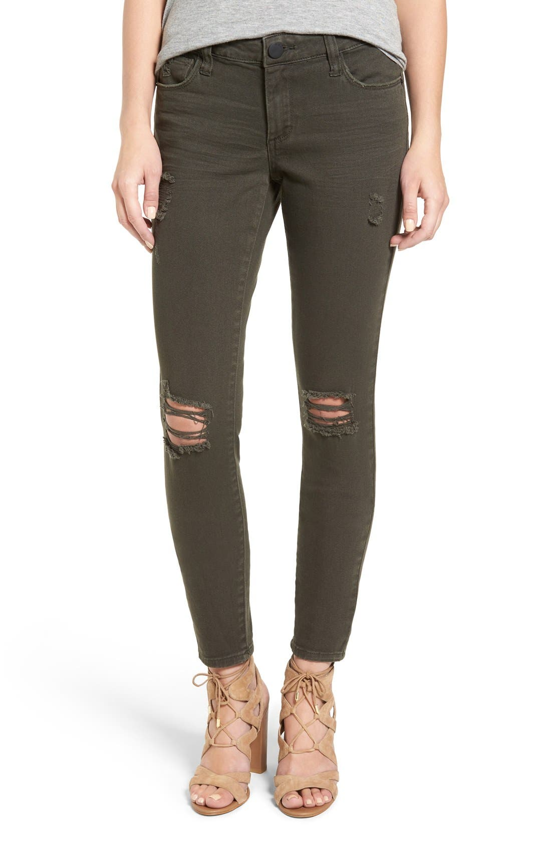 Alternate Image 1 Selected - STS Blue 'Piper' Deconstructed Skinny Jeans (Dark Olive)