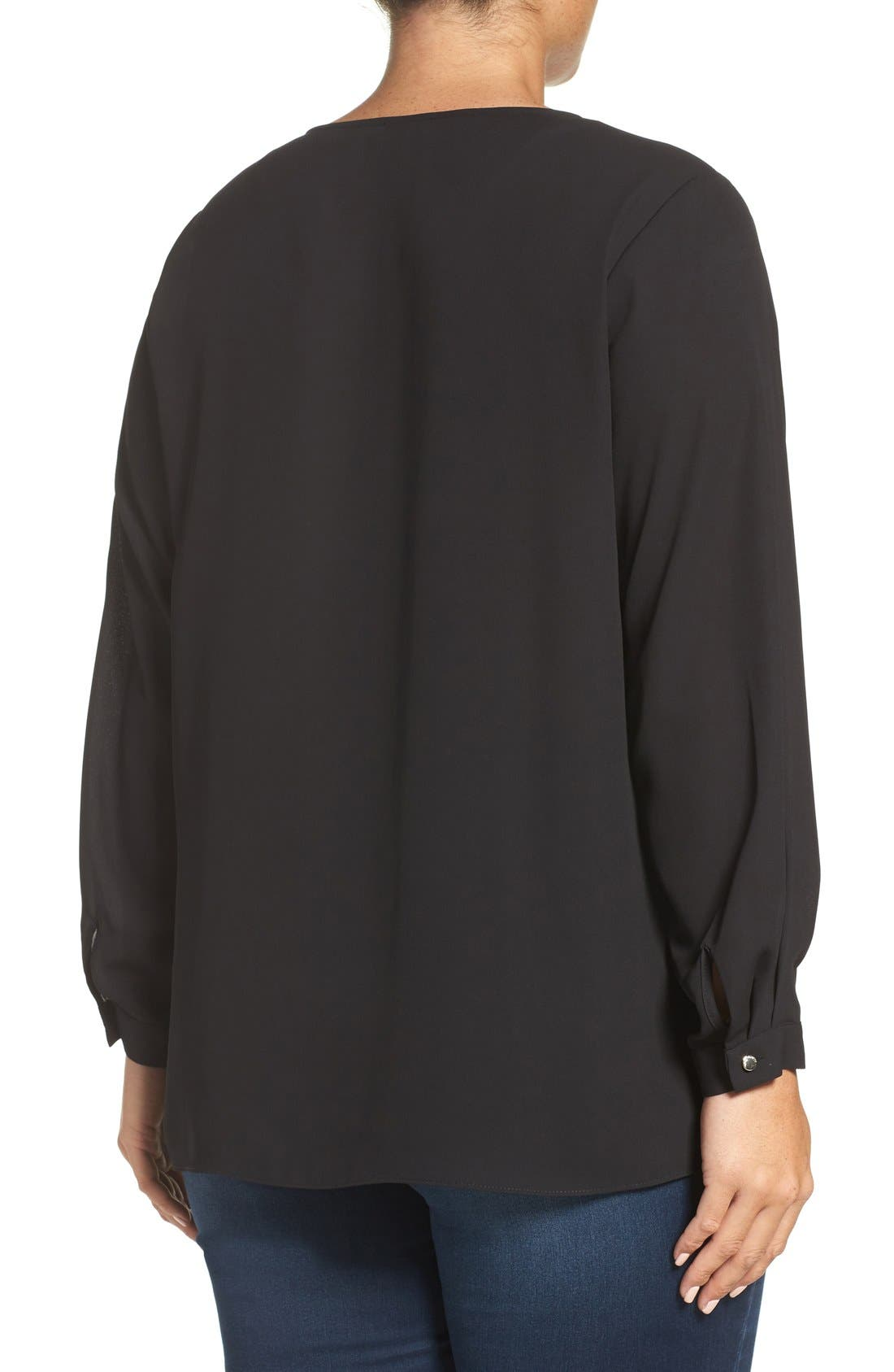 Pleat Front V-Neck Blouse,                             Alternate thumbnail 2, color,                             Rich Black