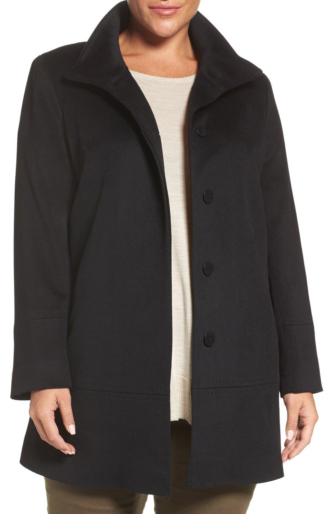 Loro Piana Wool Car Coat,                             Main thumbnail 1, color,                             Black