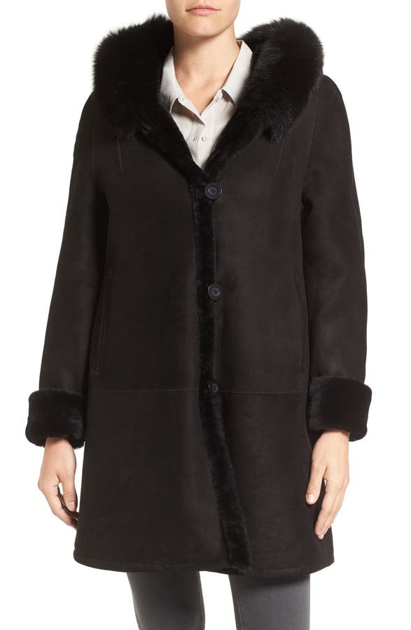 Blue Duck Hooded Genuine Shearling Swing Coat with Genuine Fox Fur ...