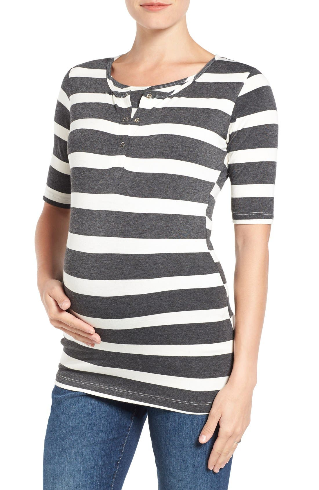 'Joey' Maternity/Nursing Top,                         Main,                         color, Charcoal/ Cream Stripe