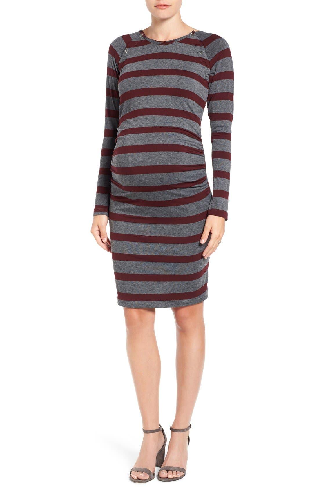 'Alex' Ruched Maternity/Nursing Dress,                         Main,                         color, Oxford/ Charcoal Stripe
