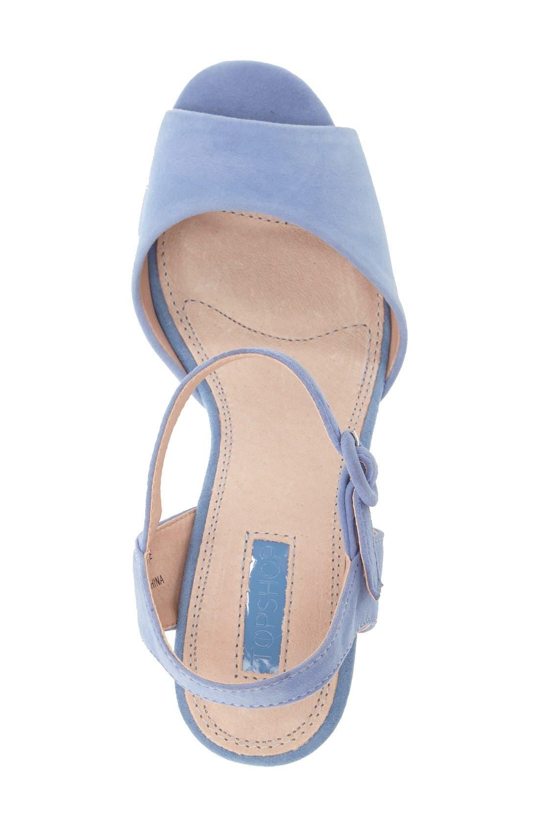'Lana' Chunky Platform Sandal,                             Alternate thumbnail 3, color,                             Blue
